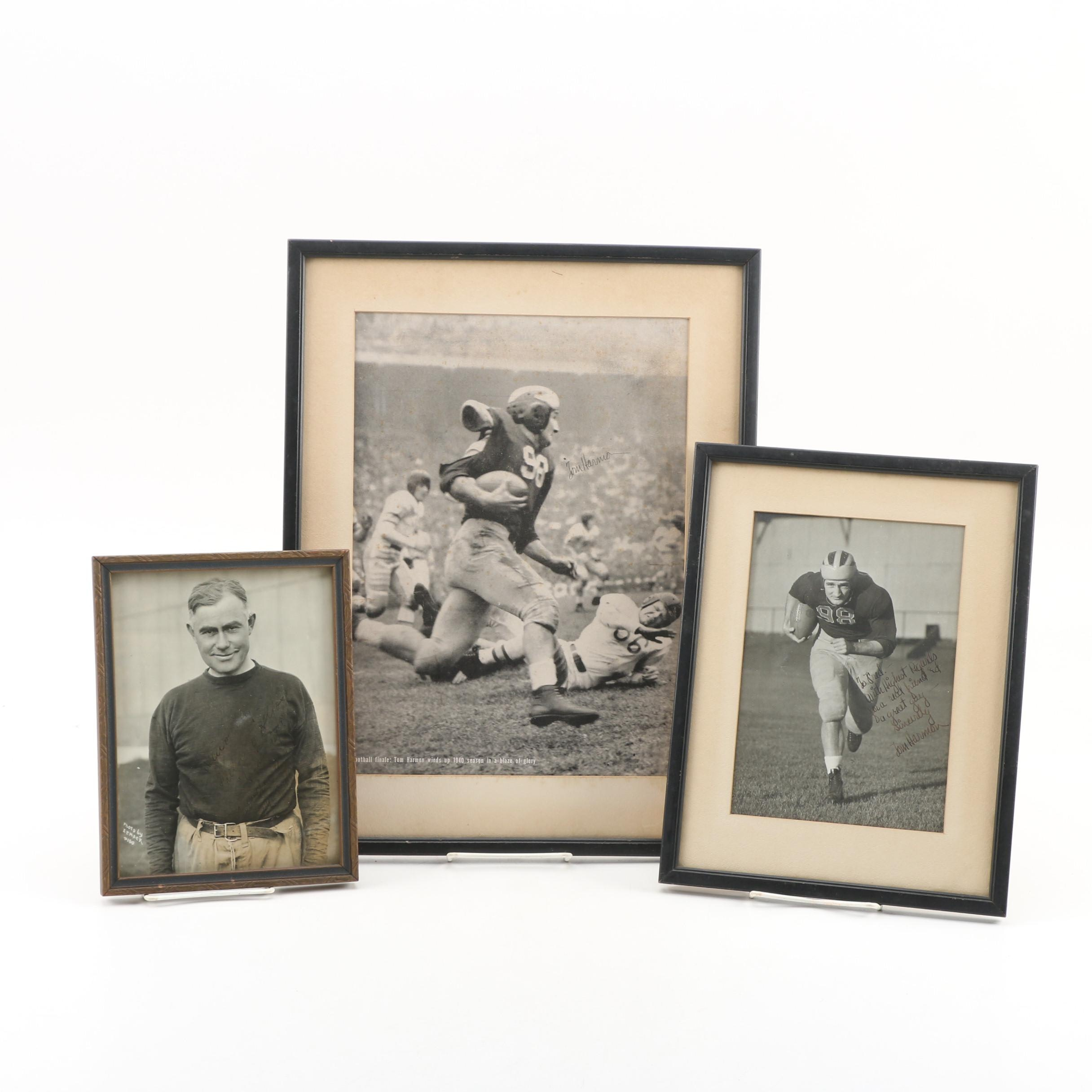 Tom Harmon and Fielding H. Yost University of Michigan Autographed Photos, 1940s