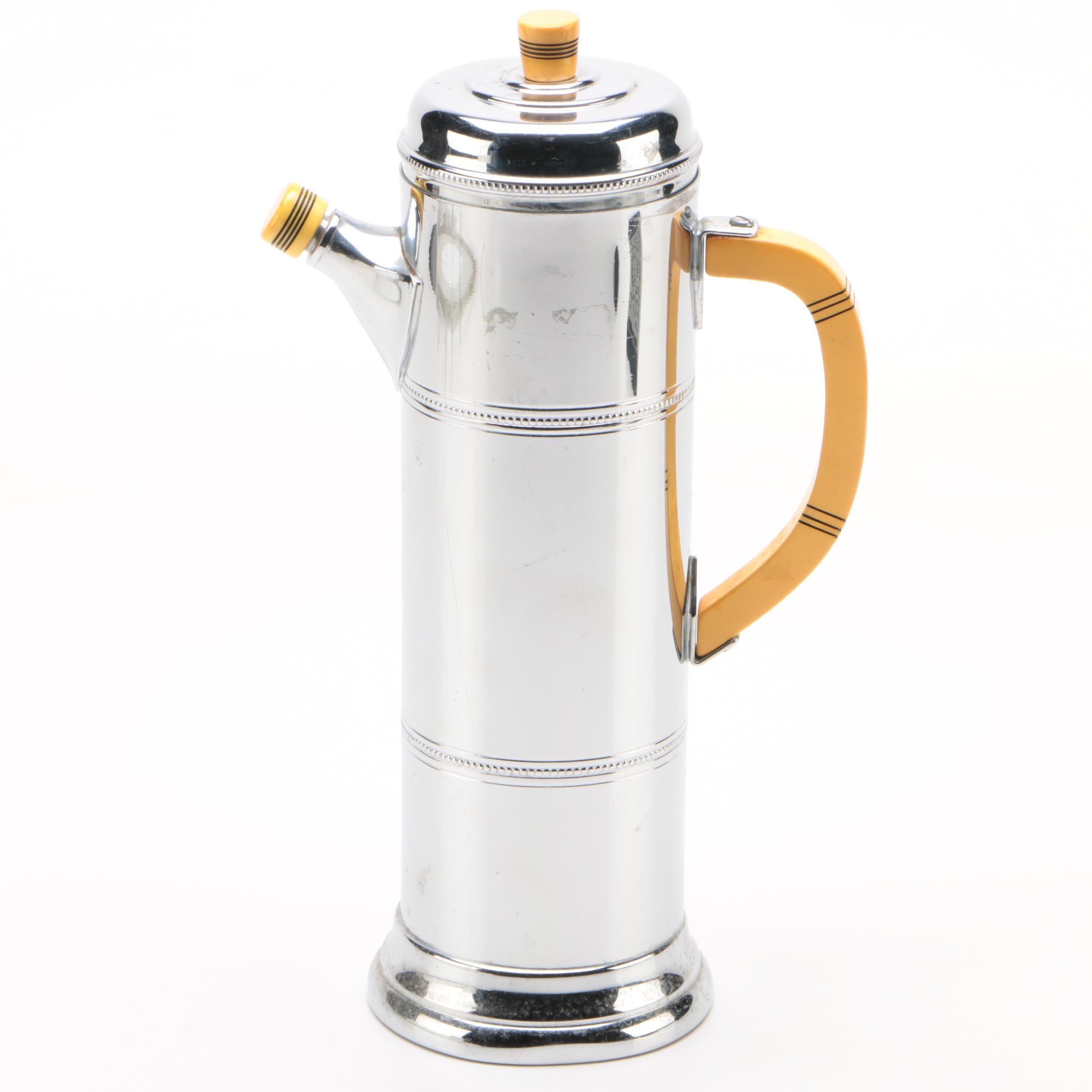 Farber Bros. Krome Kraft and Bakelite Cocktail Shaker, Mid-Century