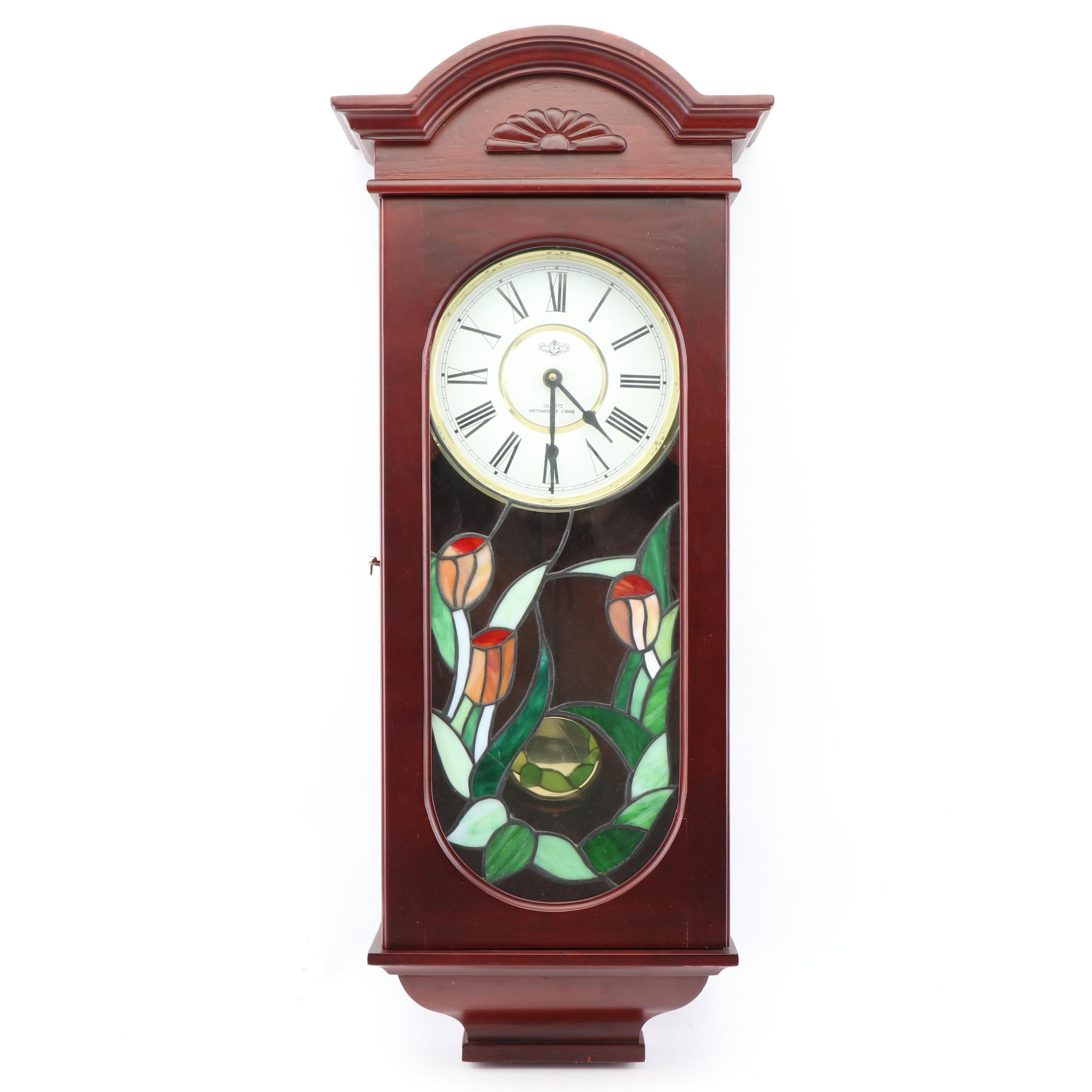 Carved Wood Wall Clock with Floral Slag Glass Accents
