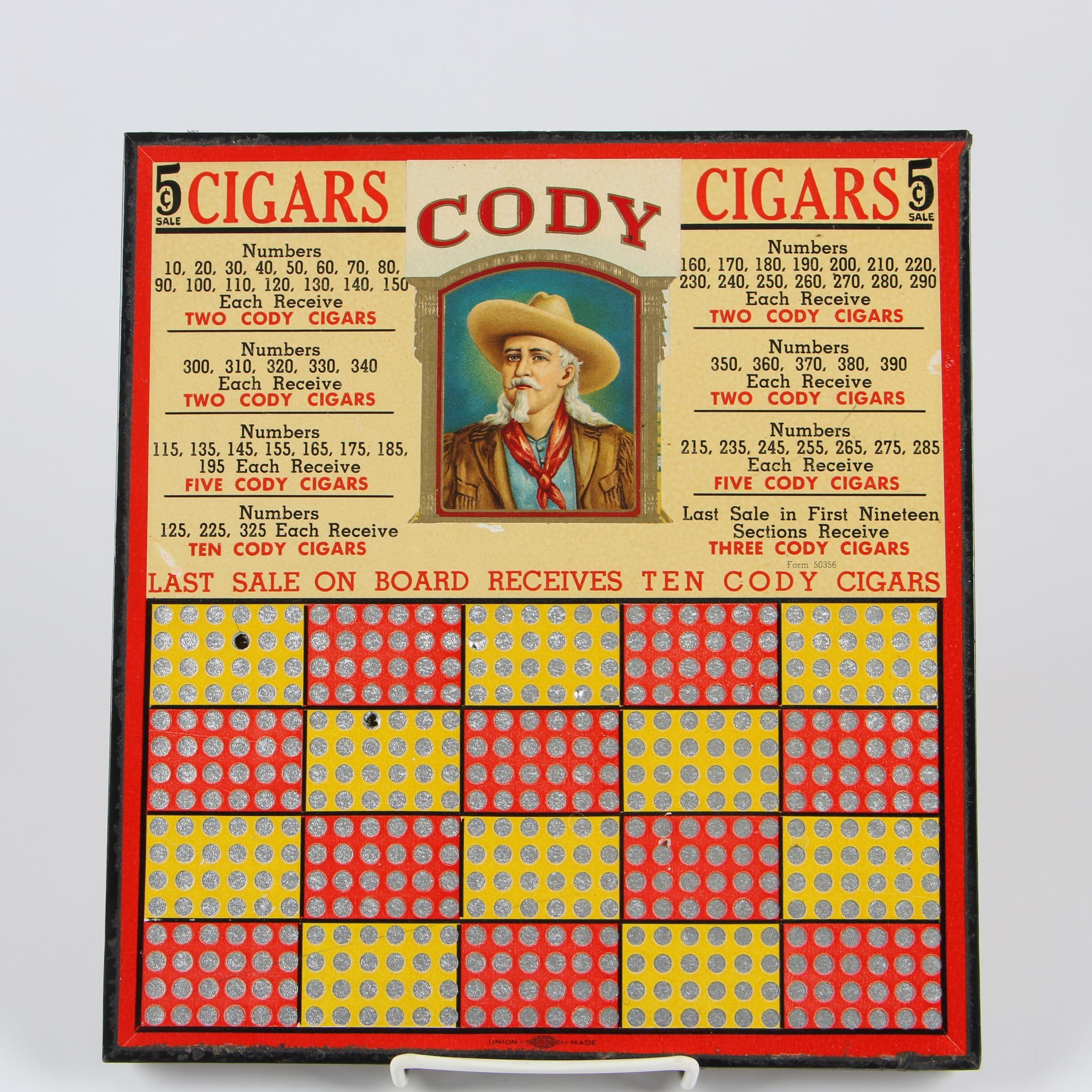 Hamilton Mfg. Co. Cody Cigars Advertising Punchboard, Mid-Century