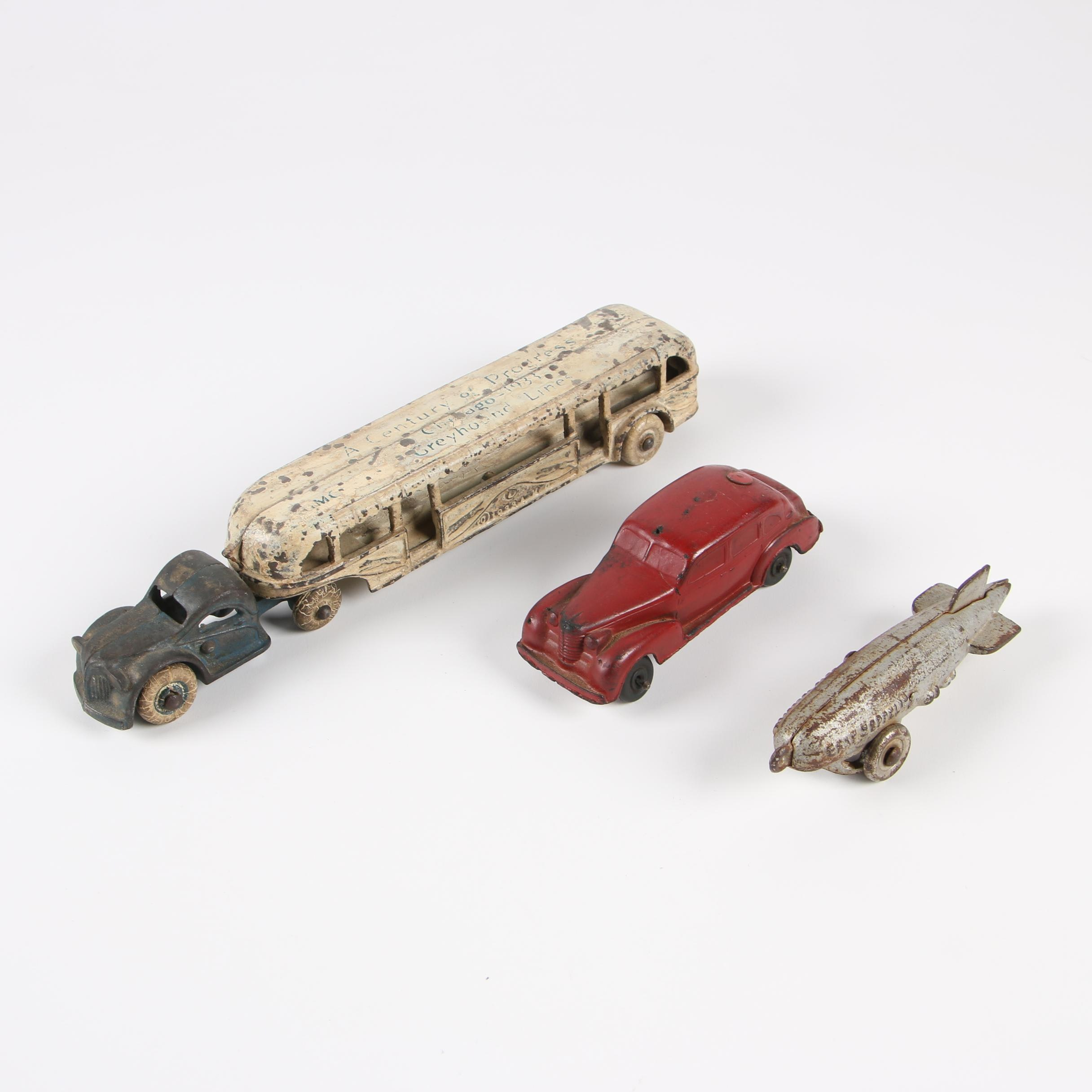Arcade Chicago World's Fair Greyhound Line Bus and other Die-Cast Vehicles