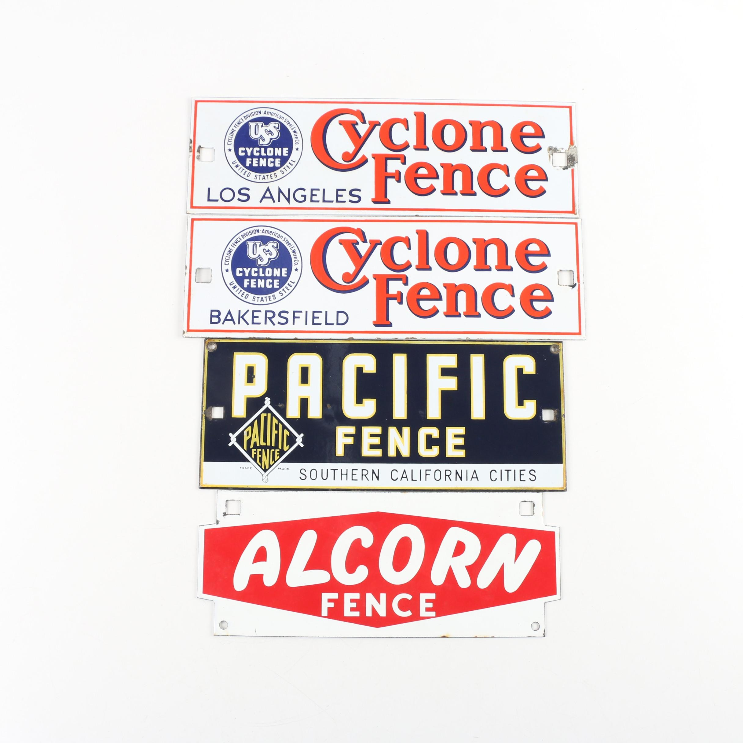 Alcorn, Pacific Fence, and Cyclone Fence Enameled Metal Signs