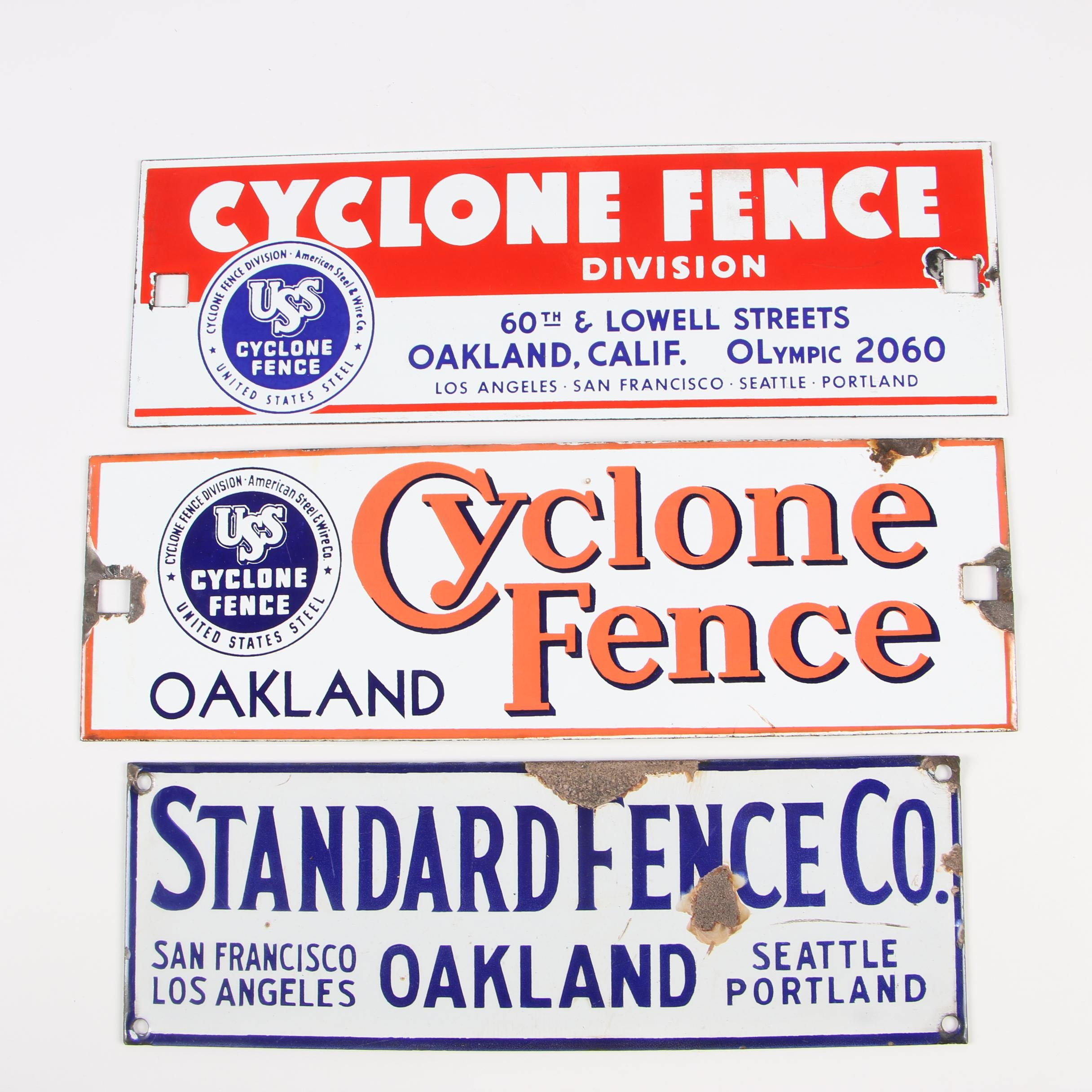 Cyclone Fence and Standard Fence Co. Enameled Metal Signs