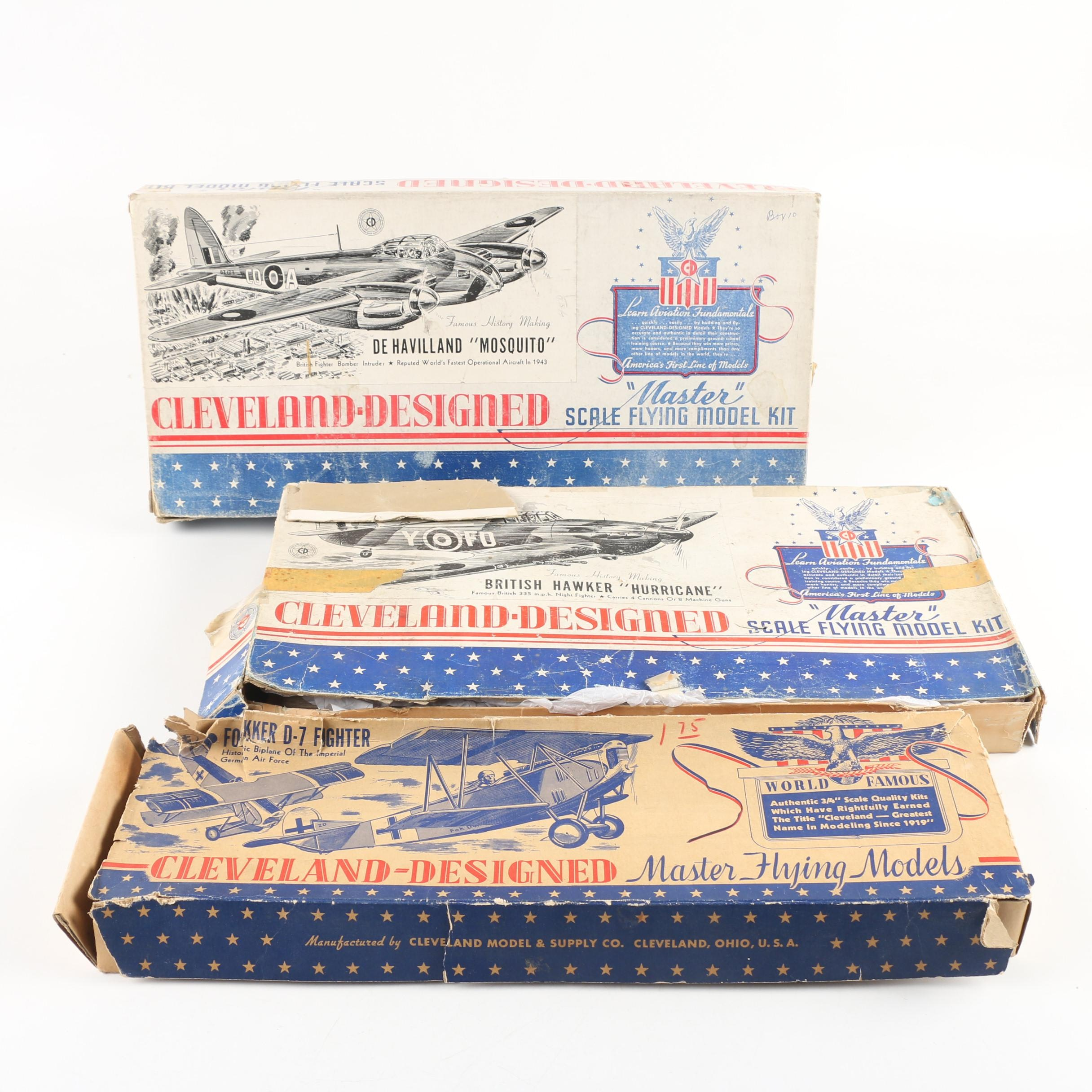 British and German Military Aircraft Model Kits by Cleveland, Mid-Century
