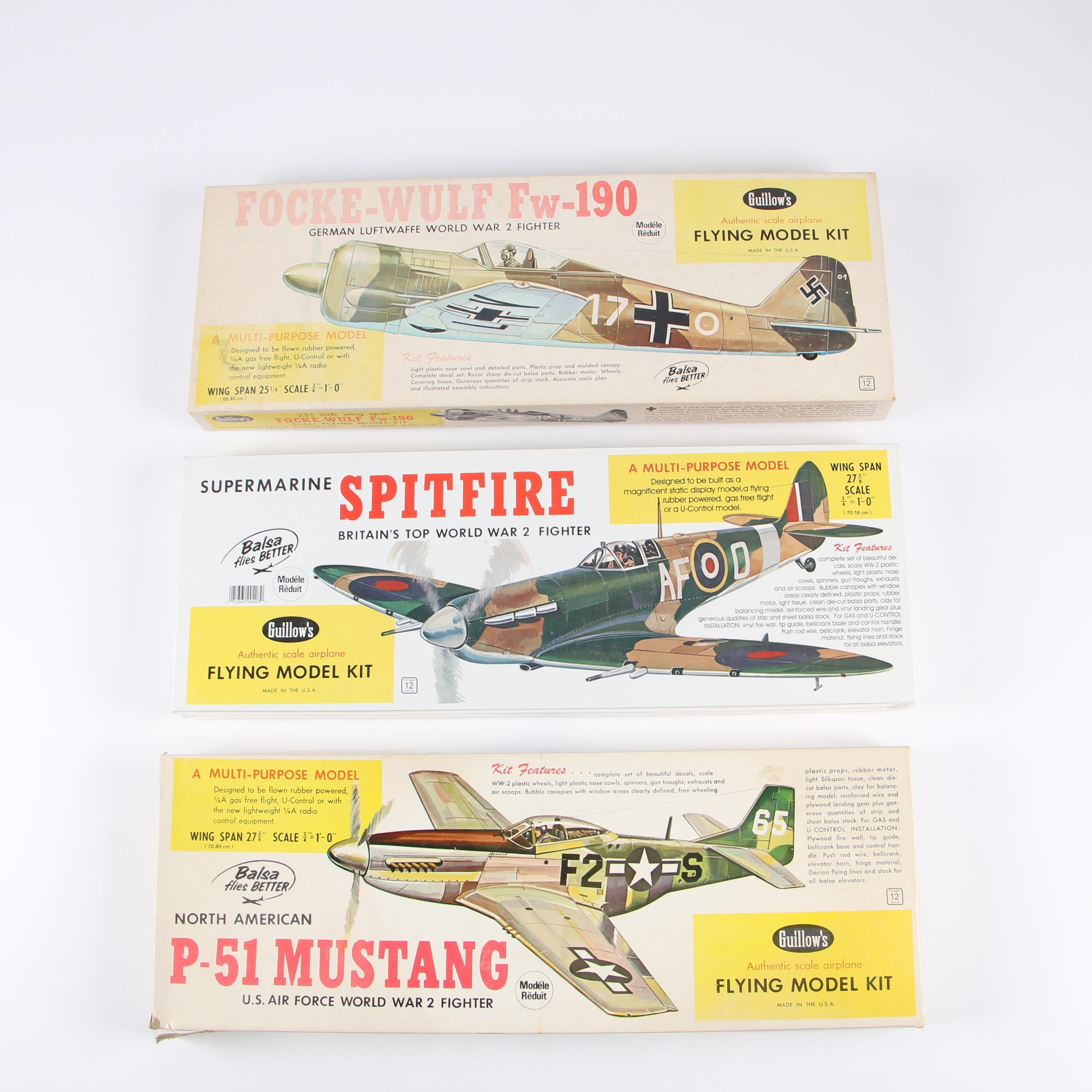 German, British, and American WWII Fighter Plane Model Kits by Guillow's