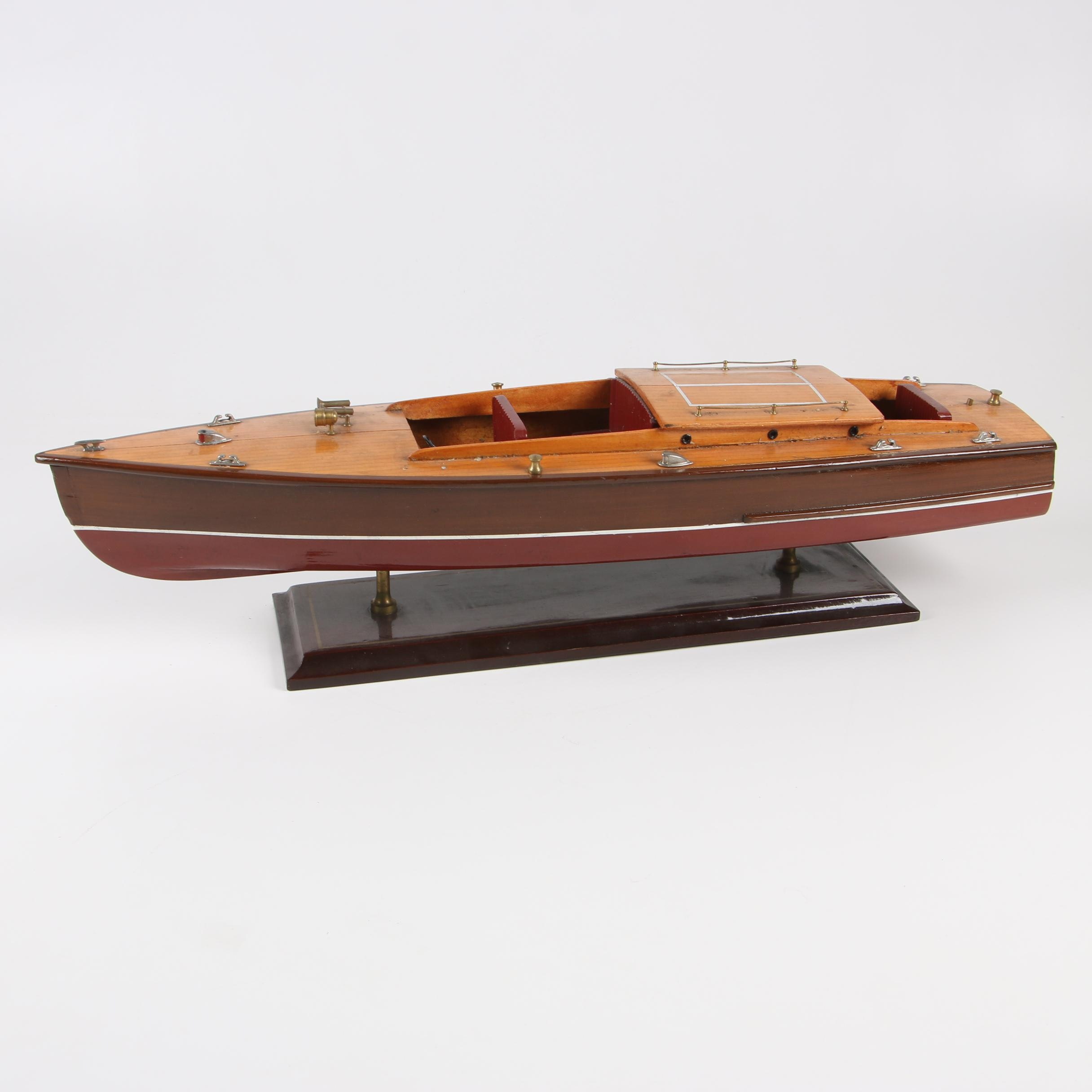 Decorative Vintage Wooden Speed Boat Model by Encore Creations