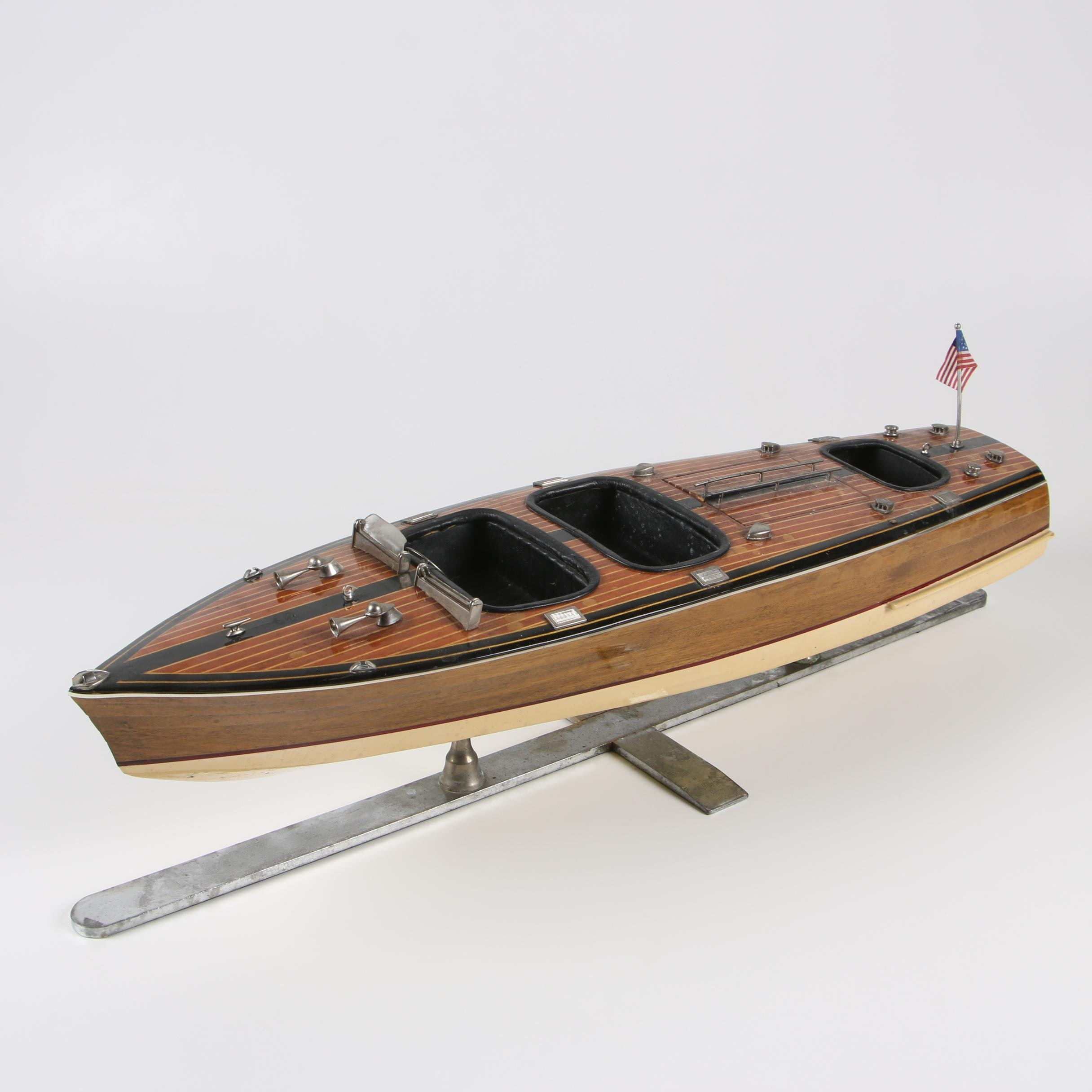 Decorative Mahogany Runabout Speed Boat Model by Authentic Models