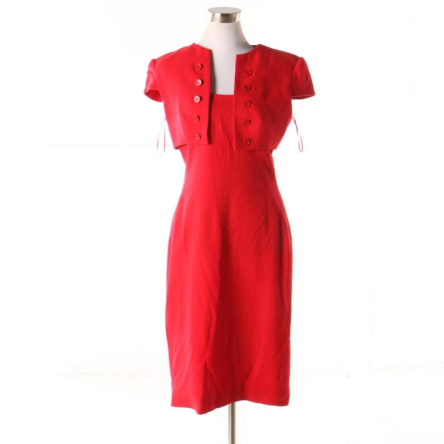 promo code 3ec34 b0de0 Alexander McQueen Red Wool Sheath Bolero Dress, Made in ...