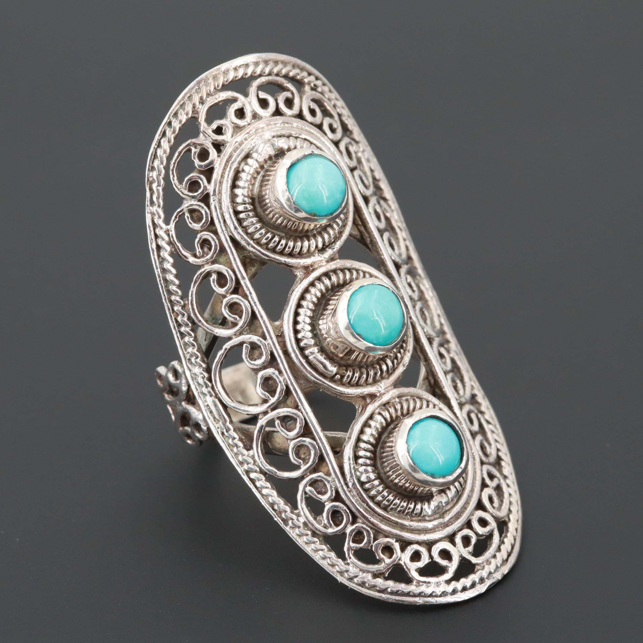 Royal Jaipur Style Sterling Silver Turquoise and Ruby Openwork Ring