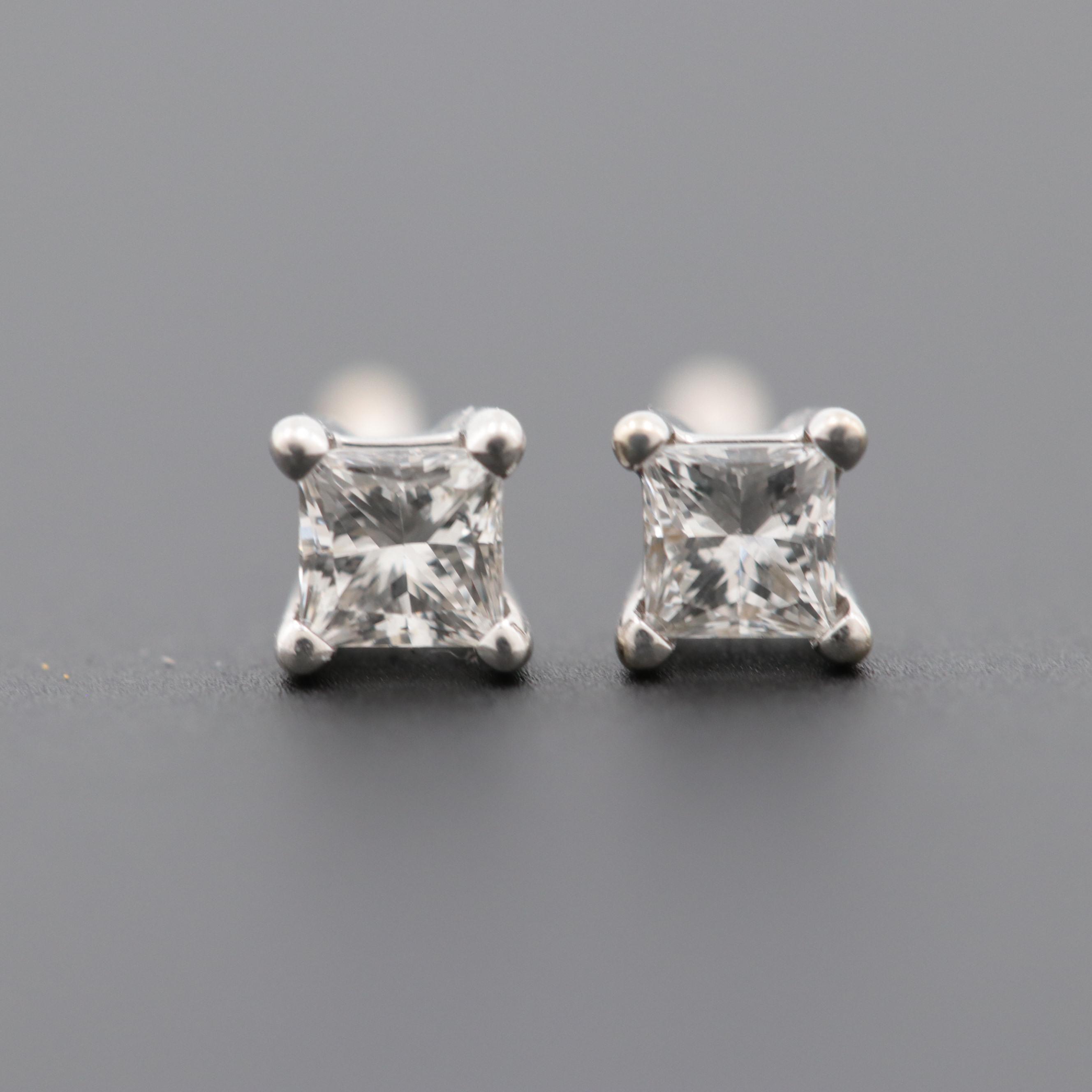 18K White Gold Diamond Solitaire Stud Earrings