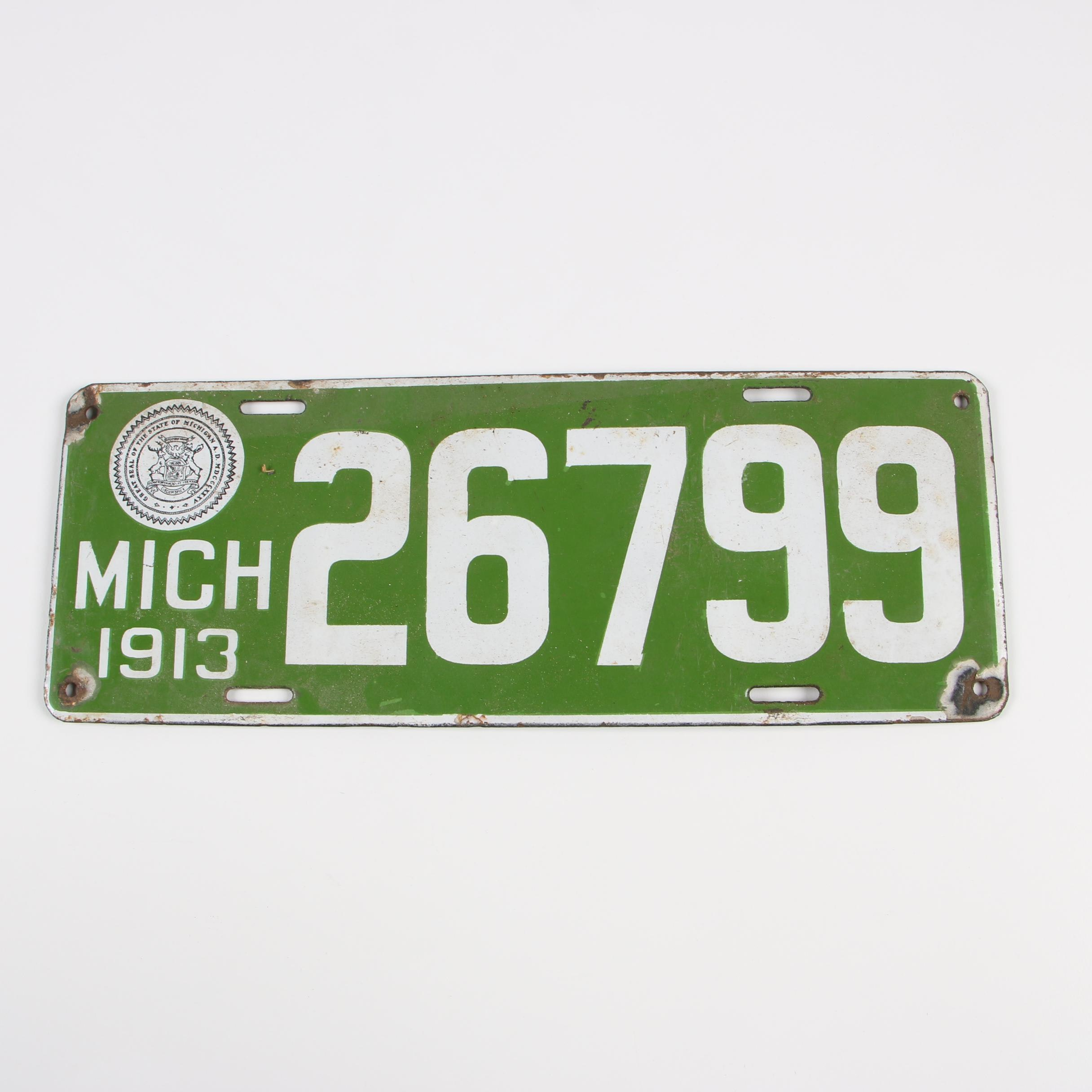 Michigan License Plate, 1913