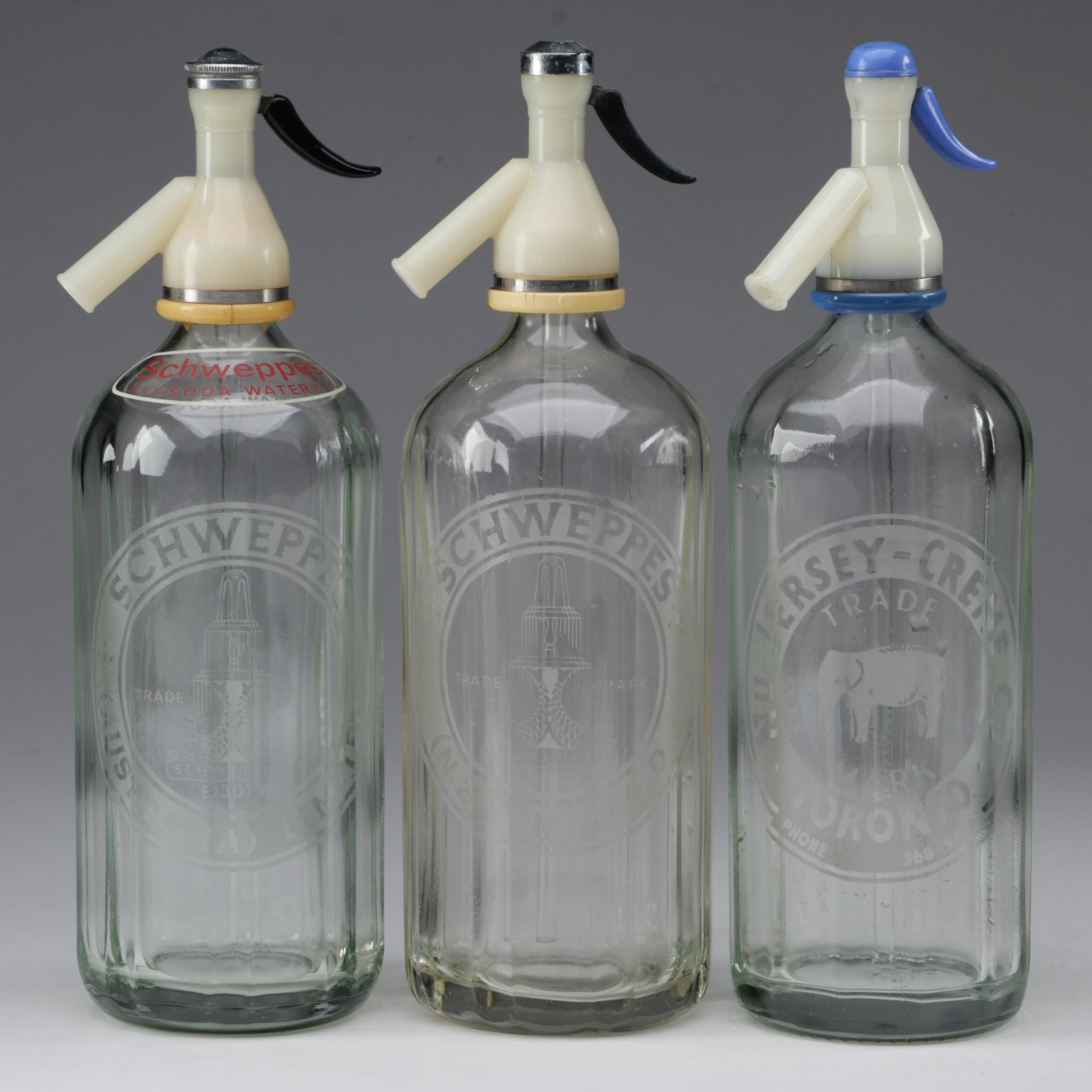 Schweppes and Nu Jersey Creme Glass Seltzer Bottles, Mid-Century
