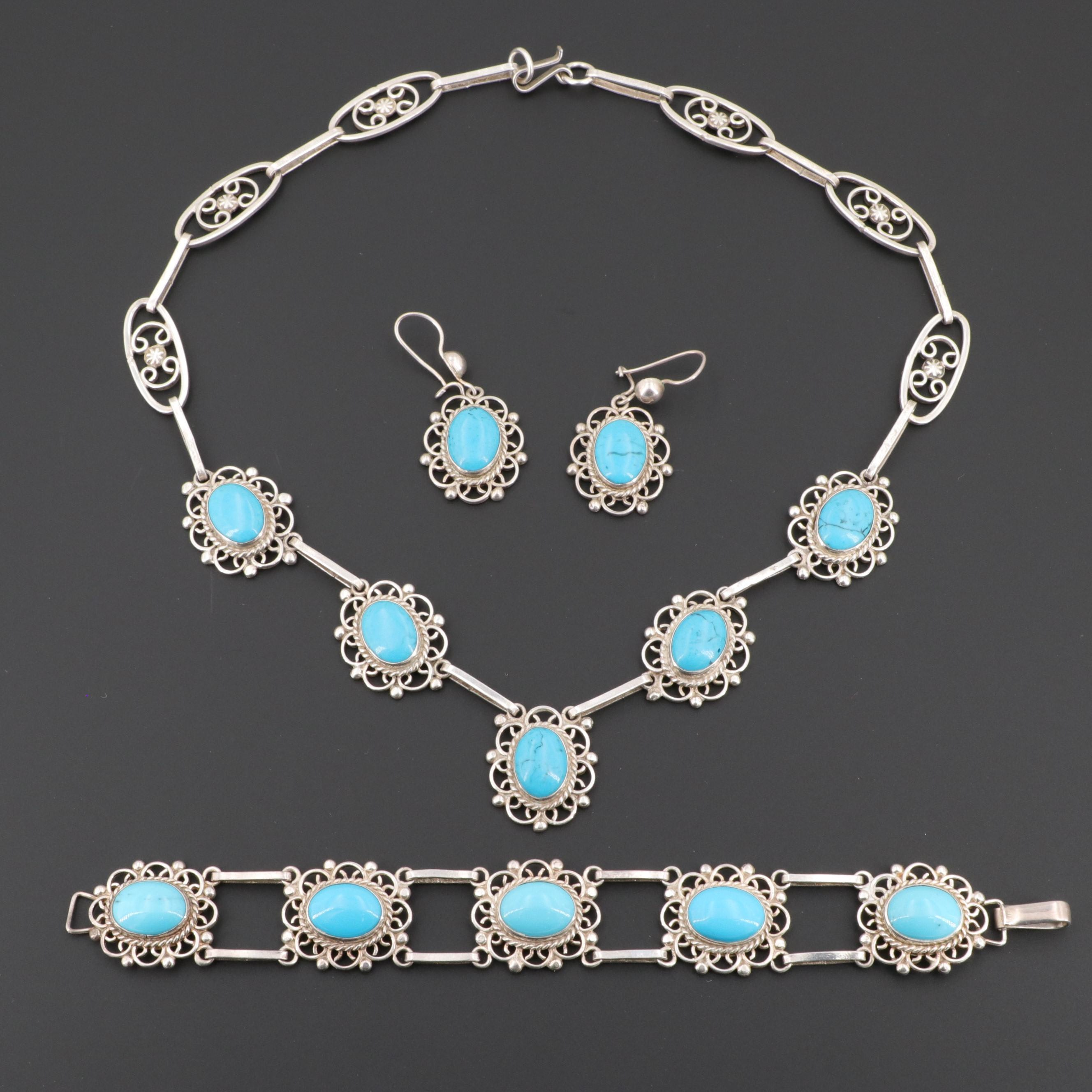 Mexican Sterling Silver Imitation Turquoise Necklace, Bracelet, and Earring Set