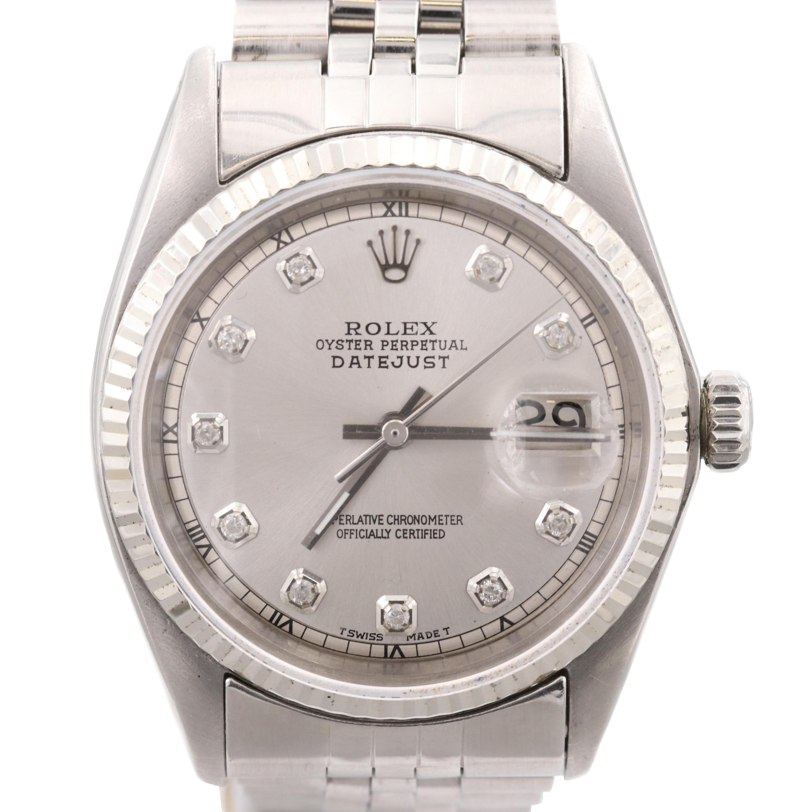 Rolex DateJust Automatic Stainless Steel Wristwatch with Diamond Dial, 1973