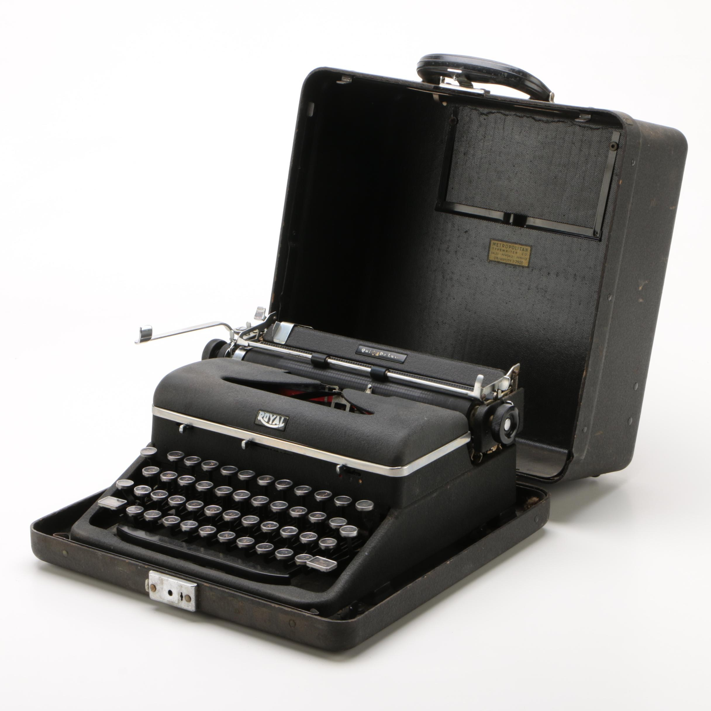 Royal Quiet DeLuxe Portable Typewriter with Case, 1940s