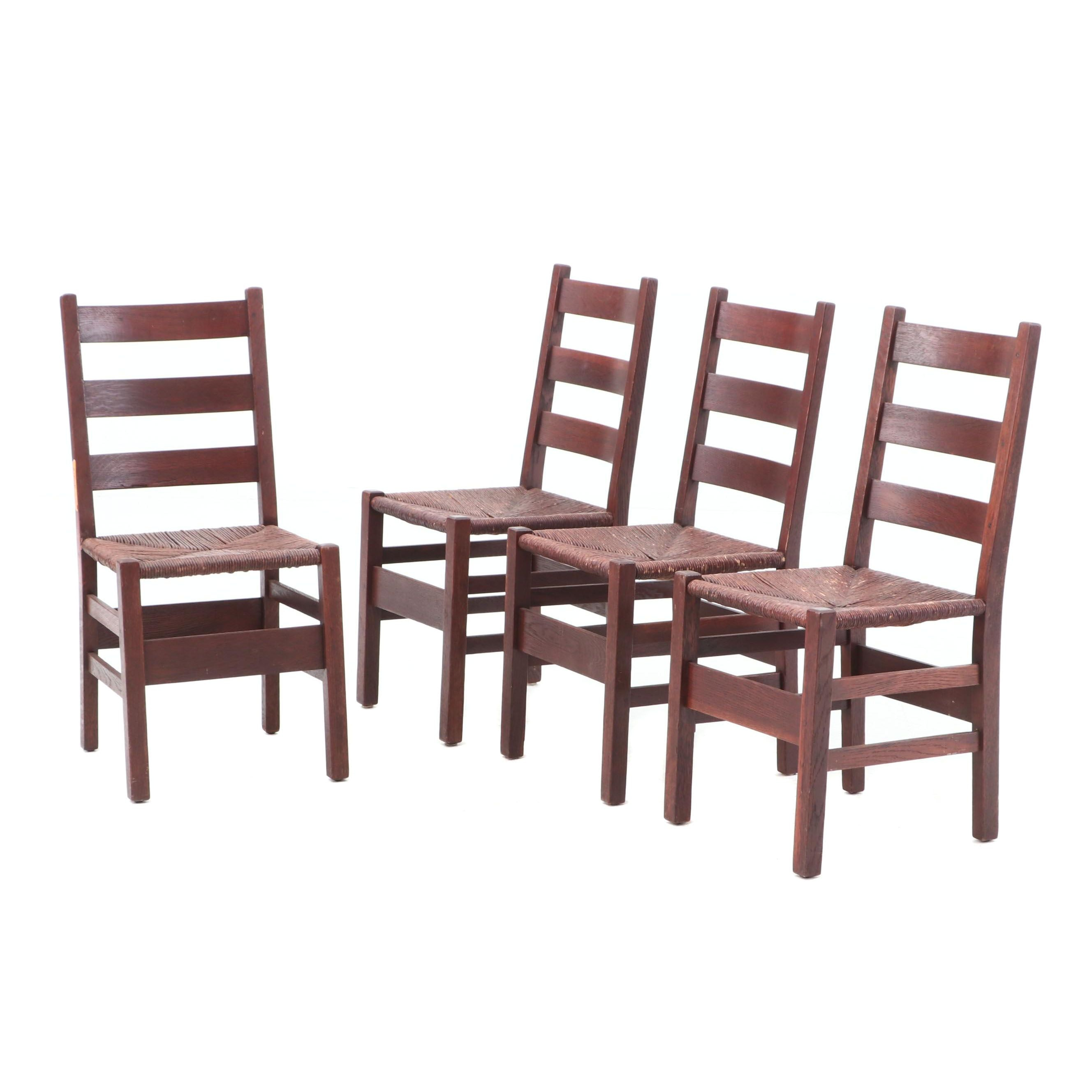 Four Gustav Stickley Arts and Crafts Oak Side Chairs, Circa 1915