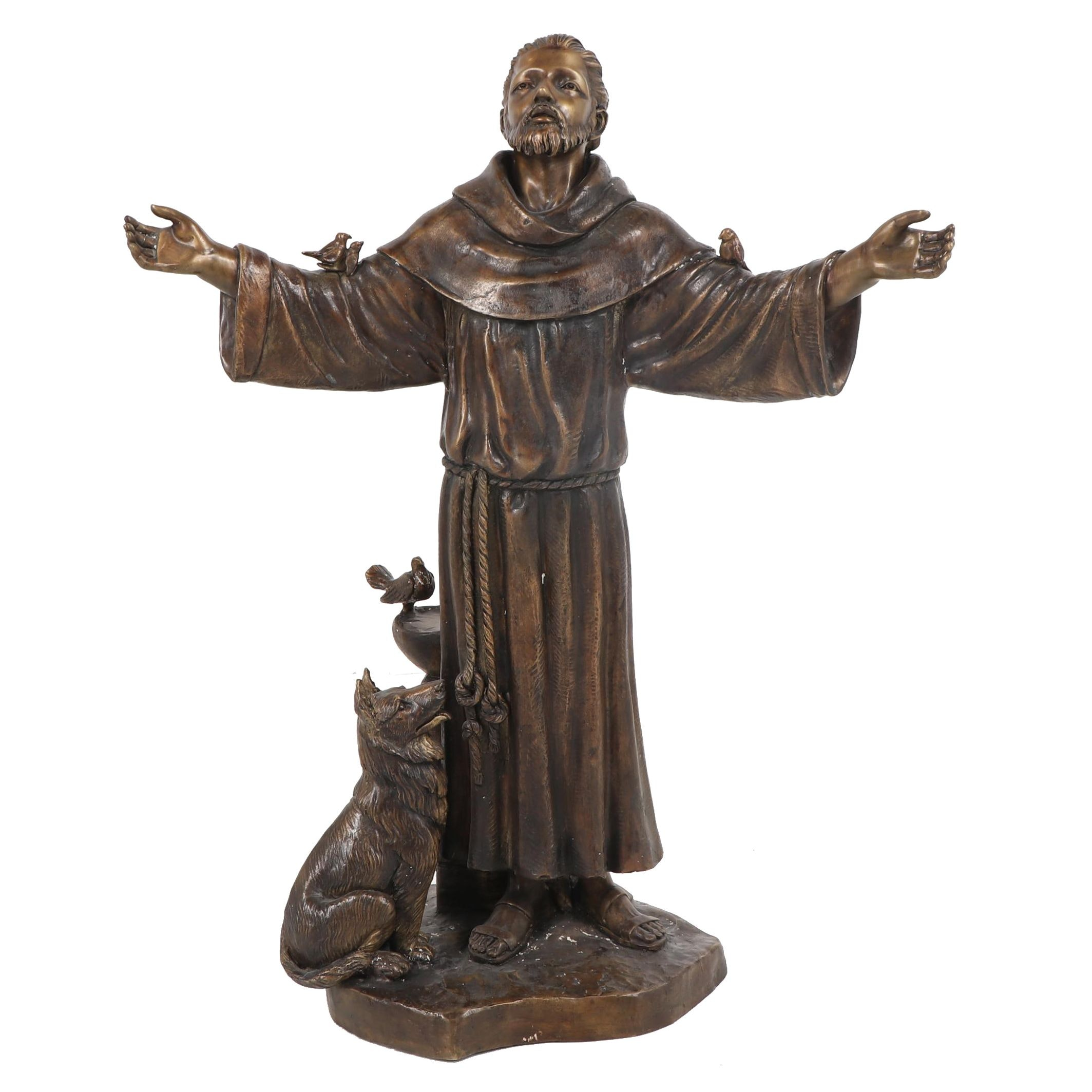 Brass Garden Statue of Saint Francis with Animals
