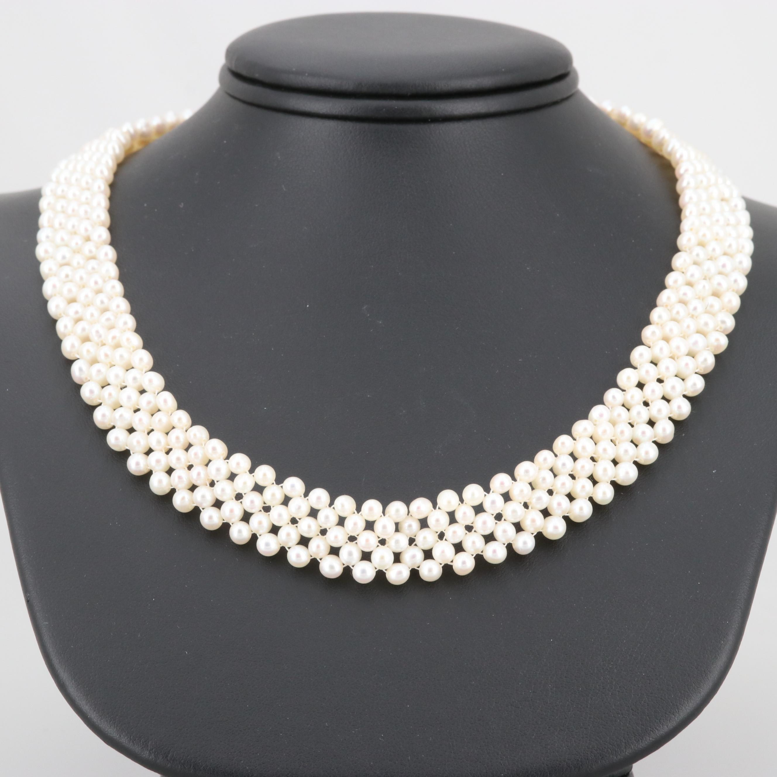 14K Yellow Gold Cultured Pearl Woven Necklace