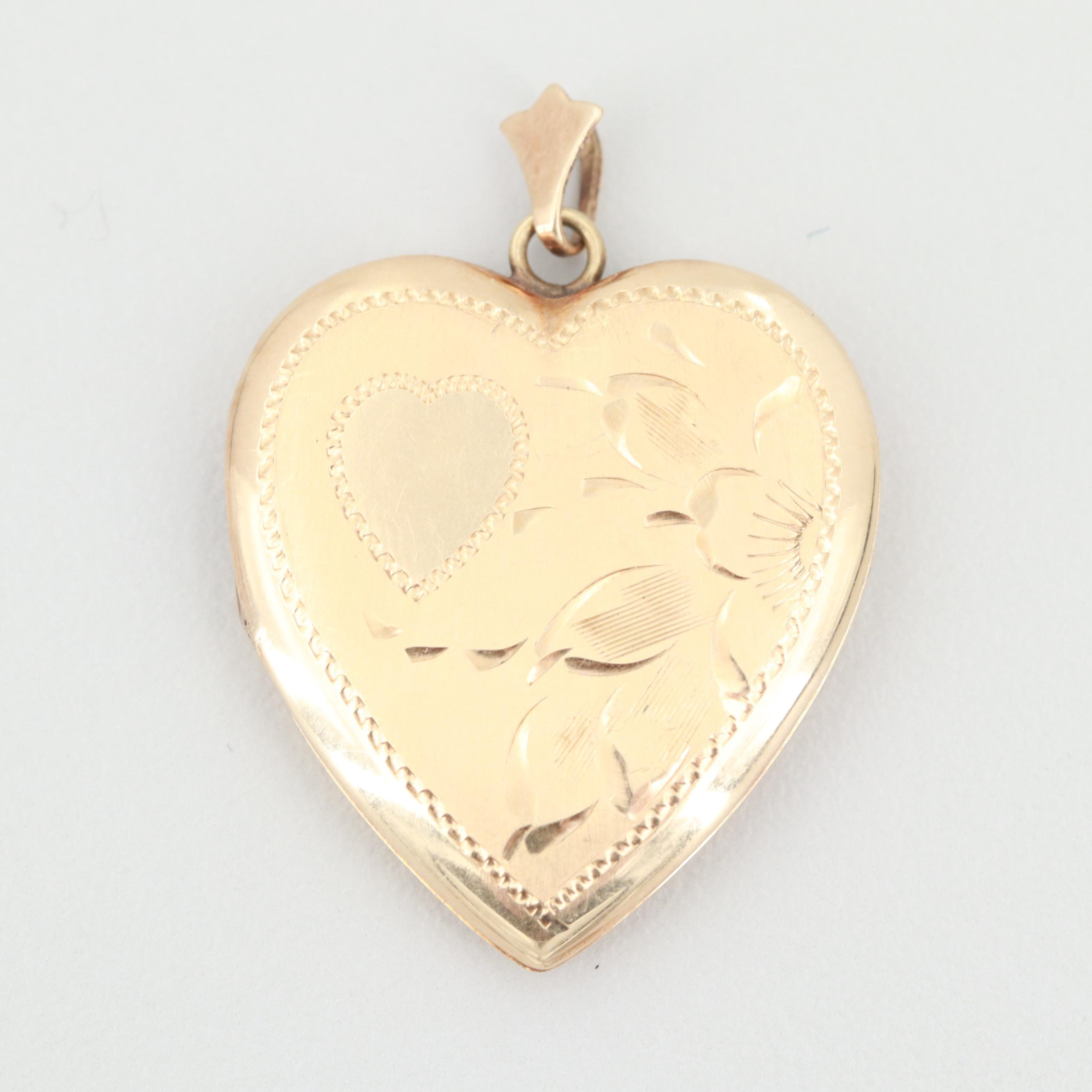 Vintage 14K Yellow Gold Heart Locket Pendant