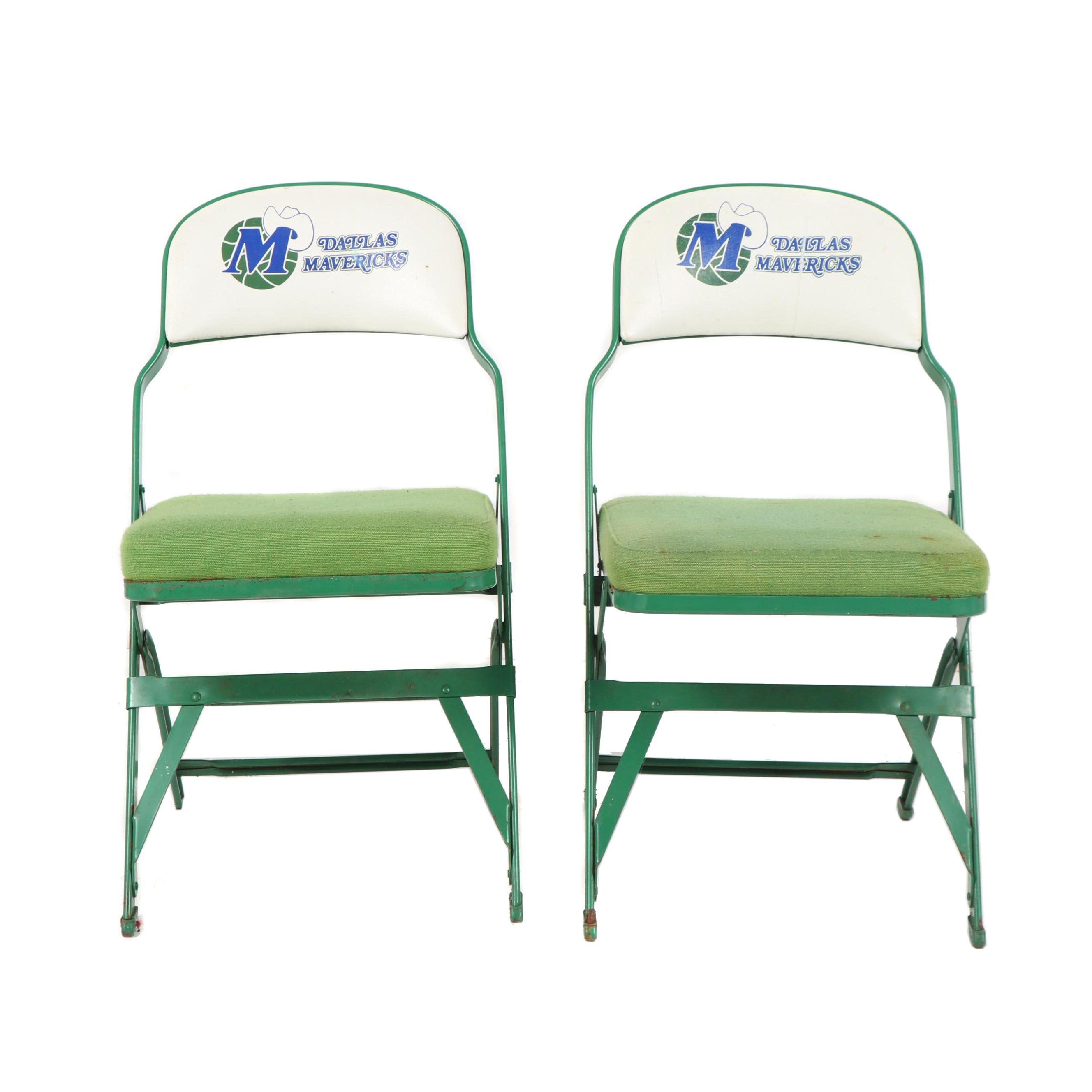 """Dallas Mavericks"" Upholstered Metal Folding Chair Pair, Late 20th Century"