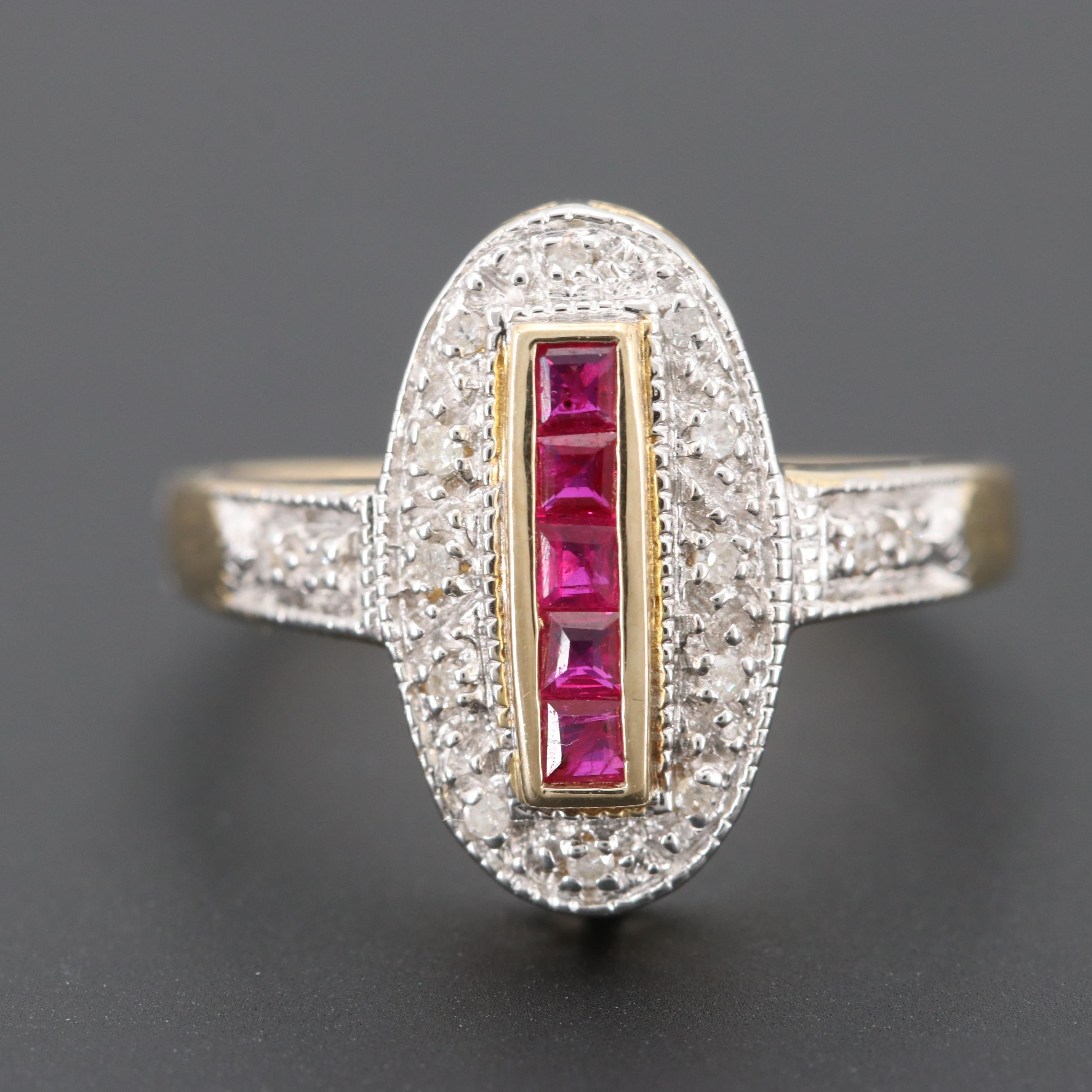 Vintage 9K Yellow Gold Ruby and Diamond Ring