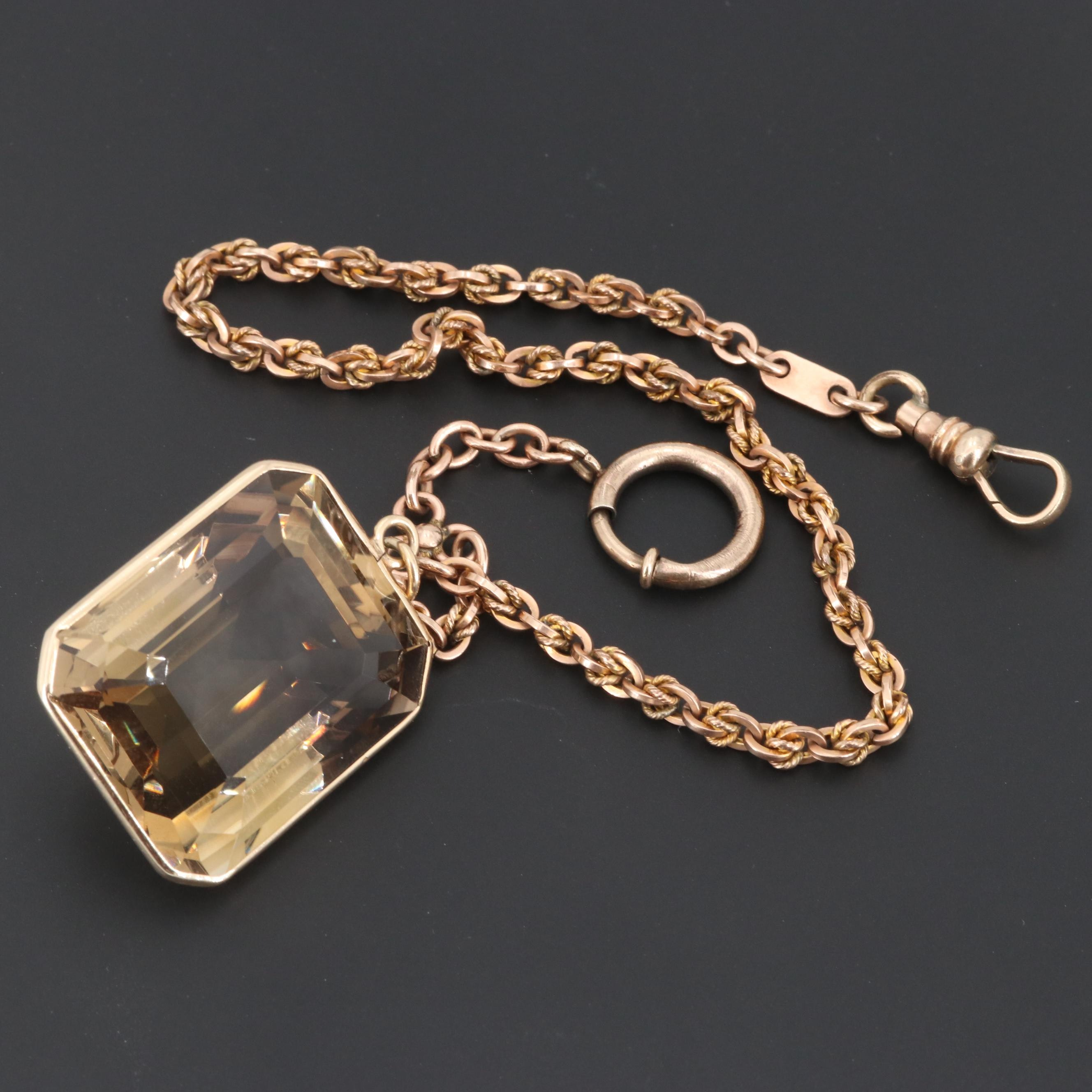 Victorian Gold Tone Watch Chain with 14K Yellow Gold 126.94 CT Smoky Quartz Fob