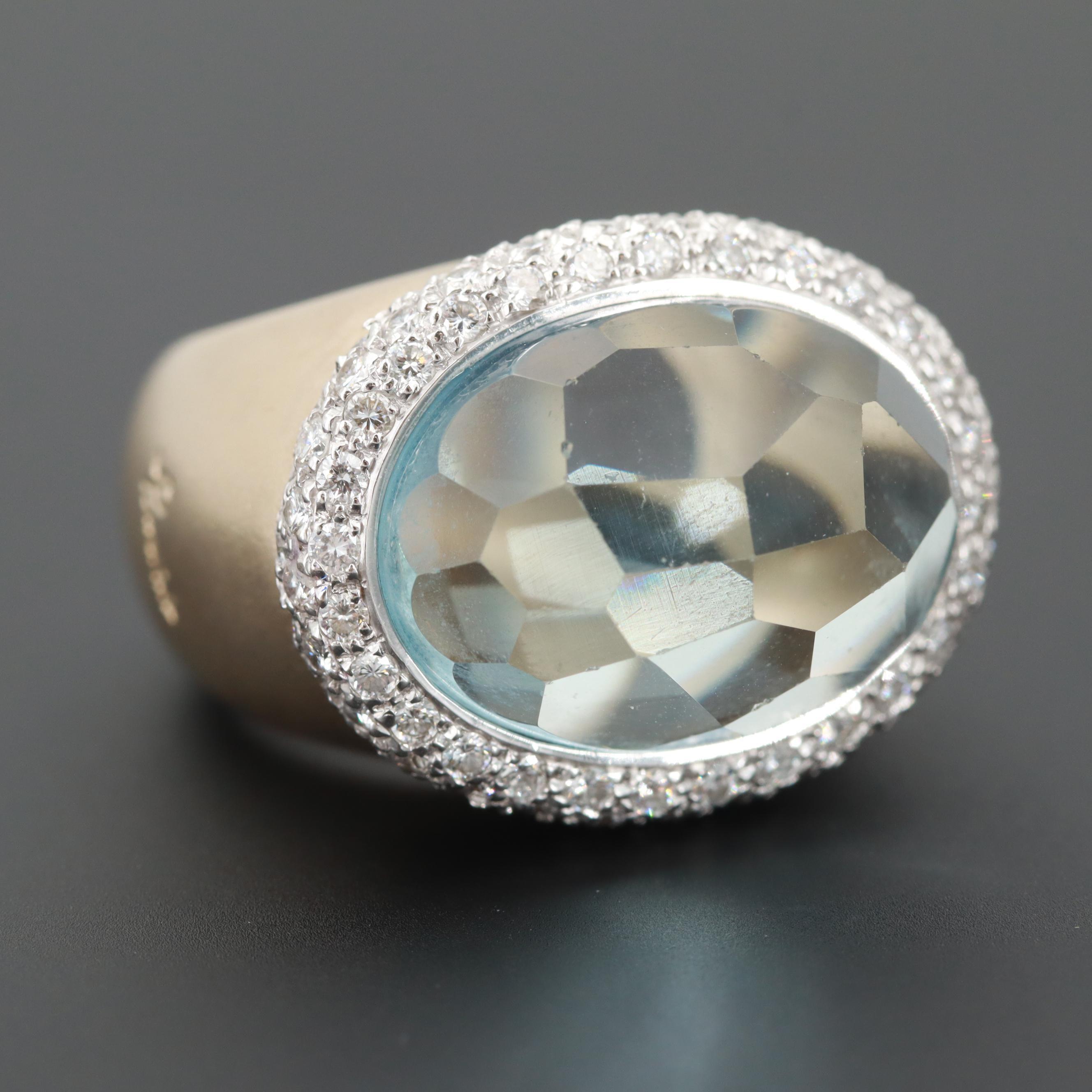 Pomellato 18K Yellow Gold Aquamarine and 1.70 CTW Diamond Ring