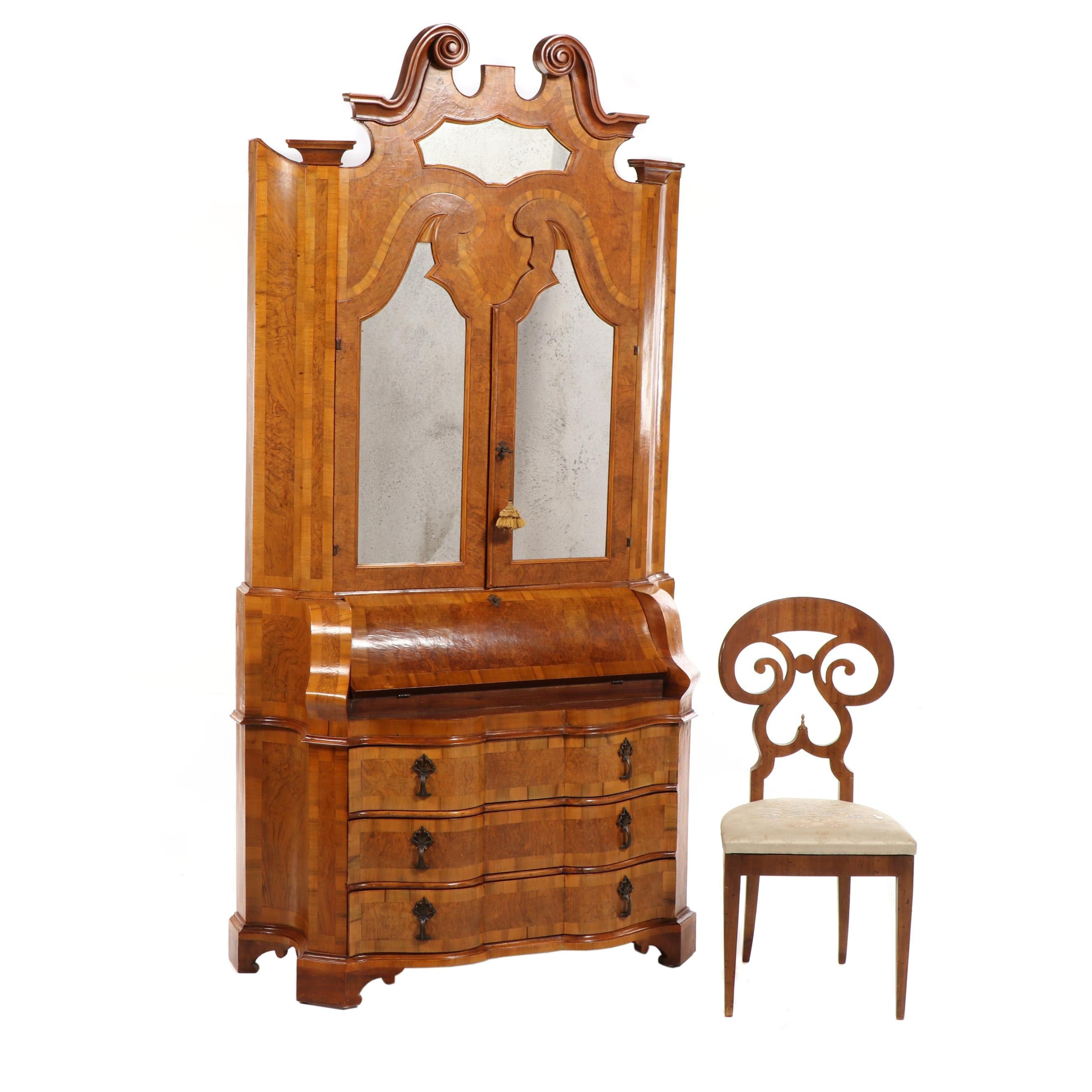 Biedermeier Style Burl Wood Secretary Cabinet and Side Chair, 19th Century