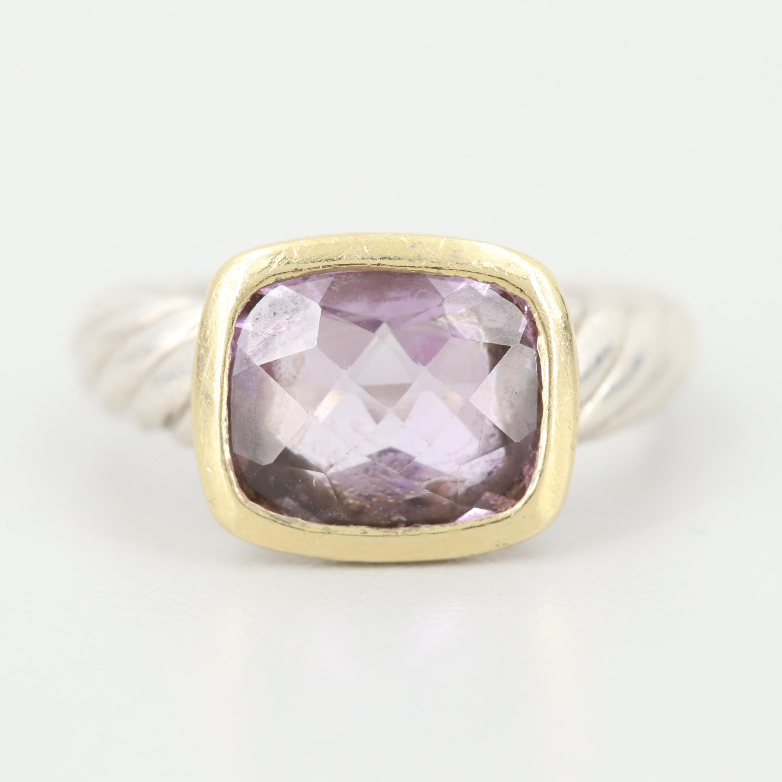 David Yurman Sterling Silver Amethyst Ring With 18K Yellow Gold Accent