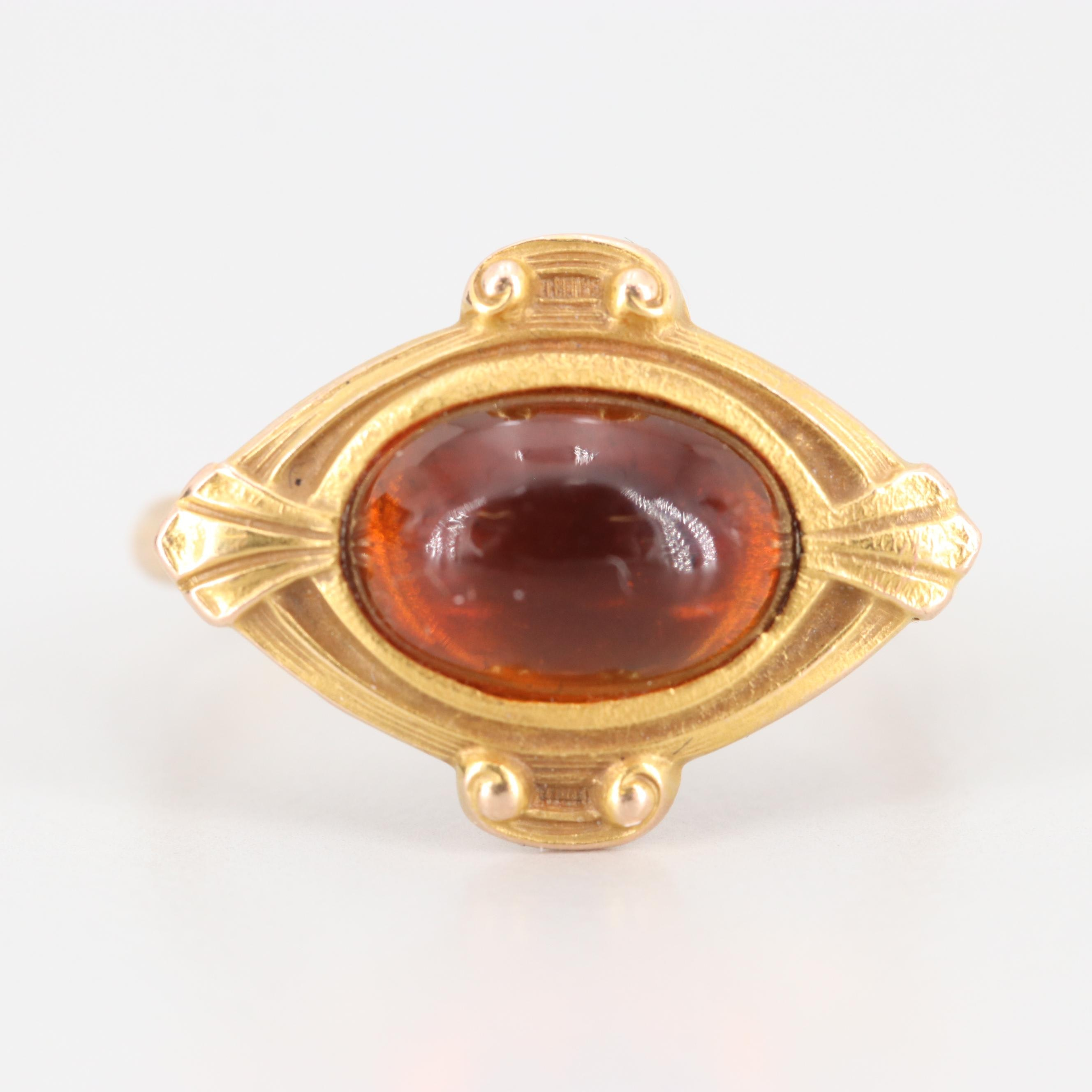 Arts and Crafts 14K Yellow Gold Citrine Ring