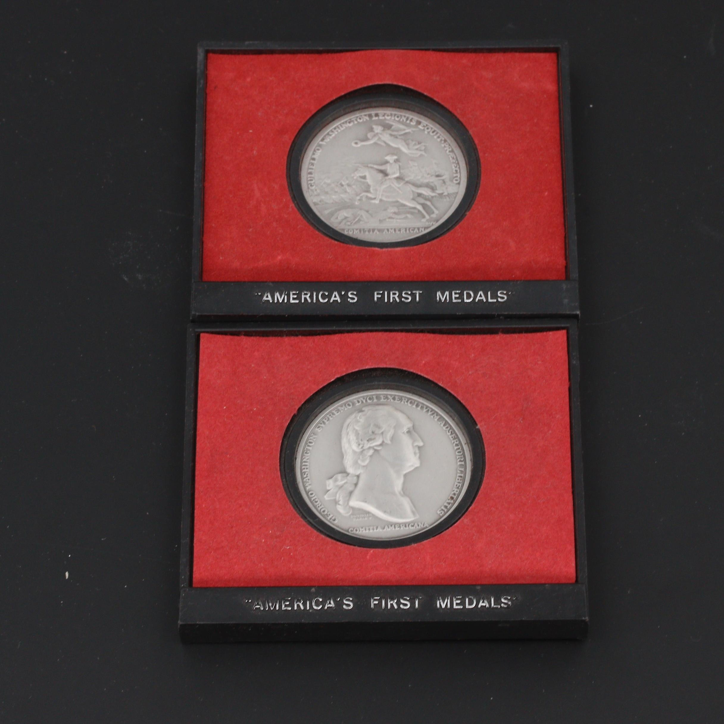 Two Pewter U.S. Mint Commemorative Revolutionary War Medals