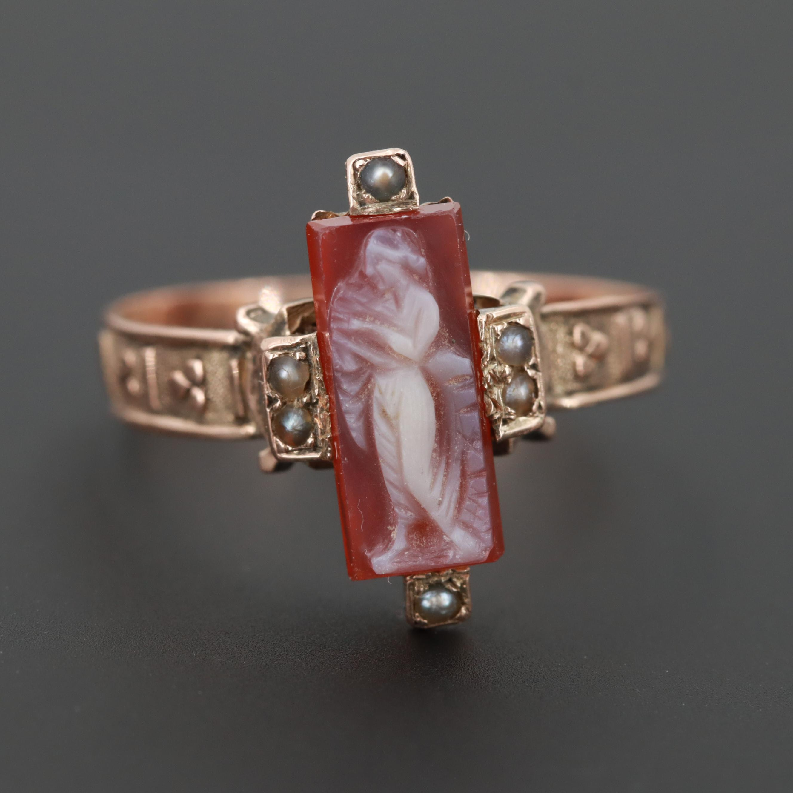 Victorian 10K Rose Gold Sardonyx and Seed Pearl Cameo Ring