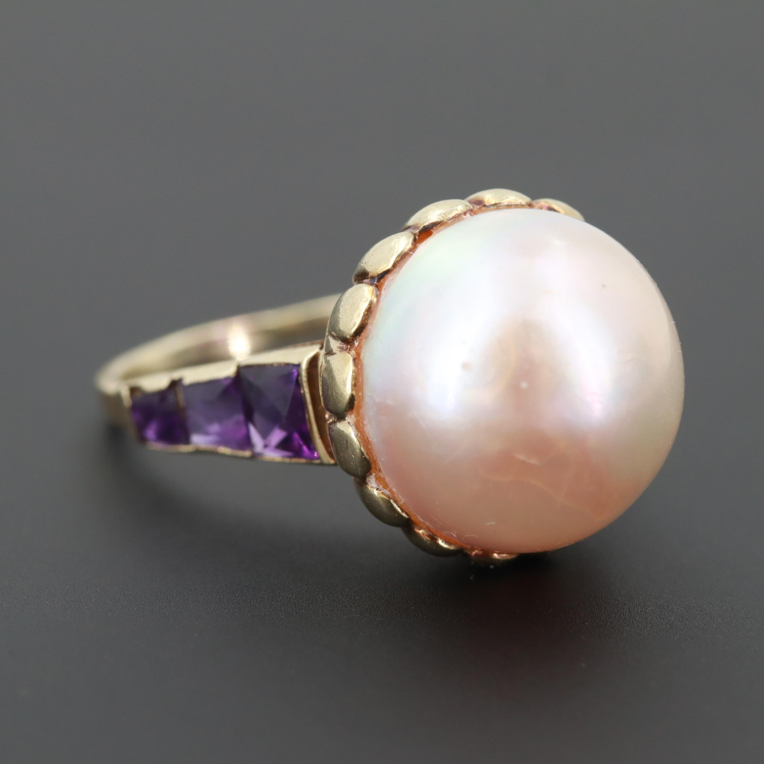 14K Yellow Gold Cultured Pearl and Amethyst Ring
