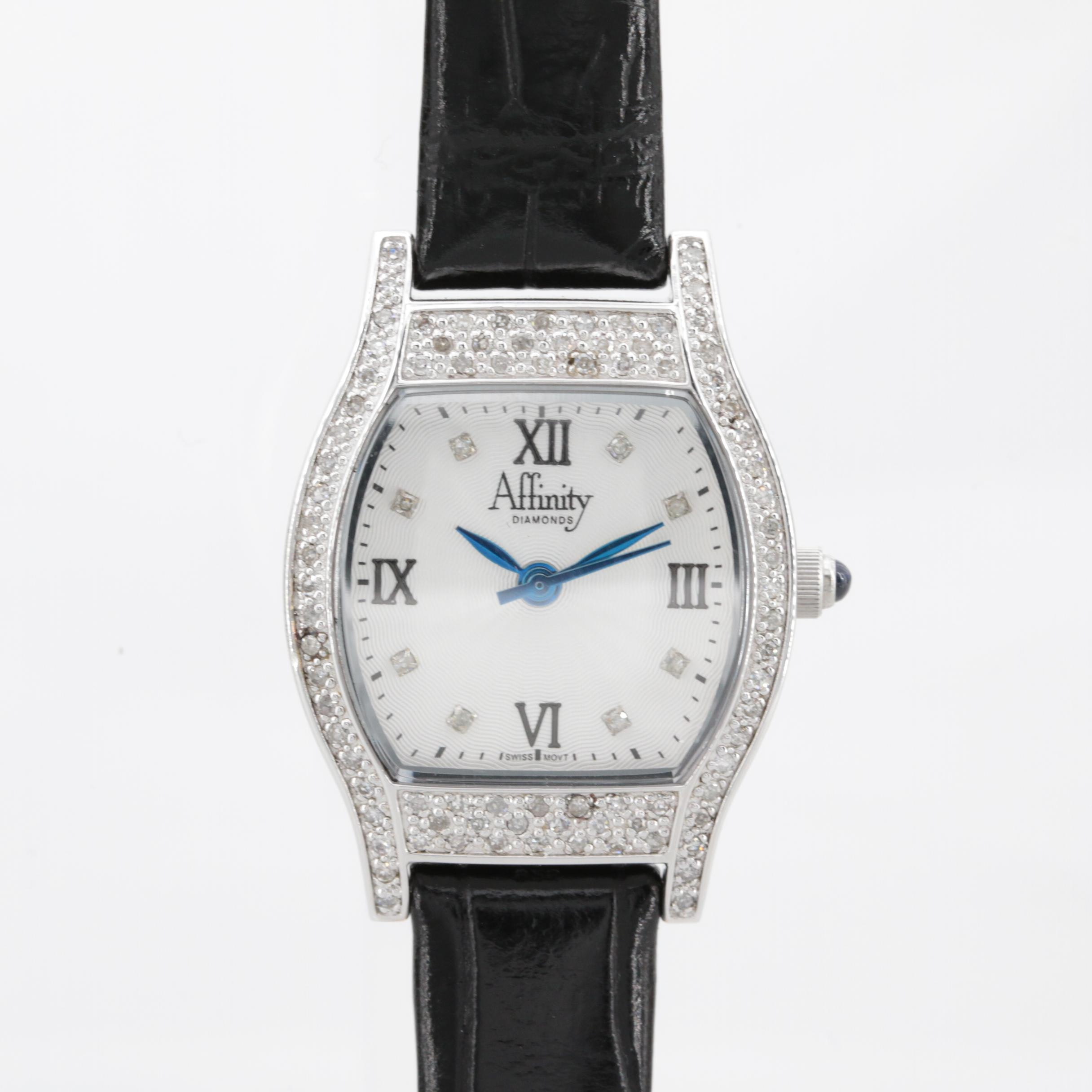 Affinity Sterling Silver Quartz Wristwatch With Diamond Dial and Bezel