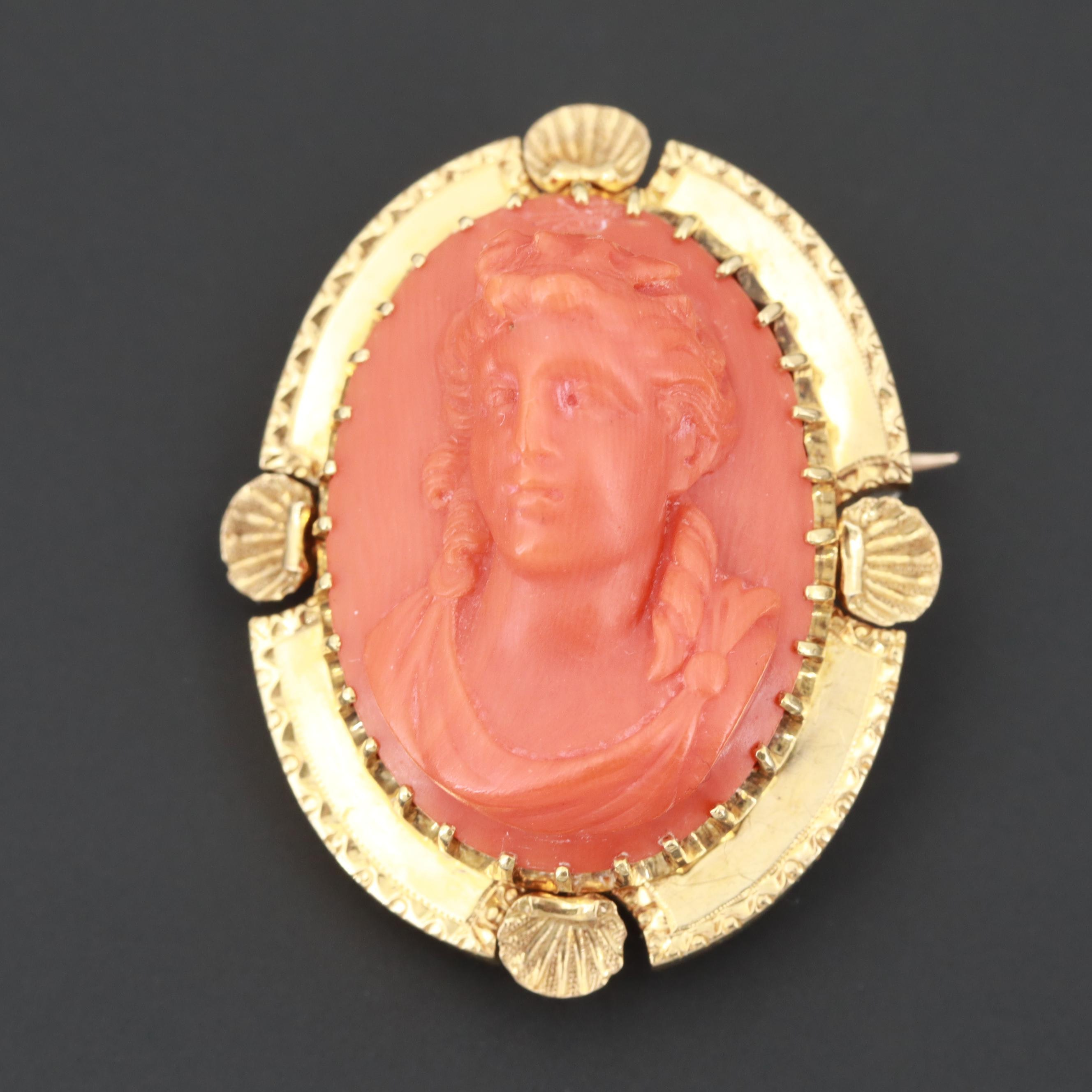 Victorian 18K Yellow Gold Coral Cameo Converter Brooch