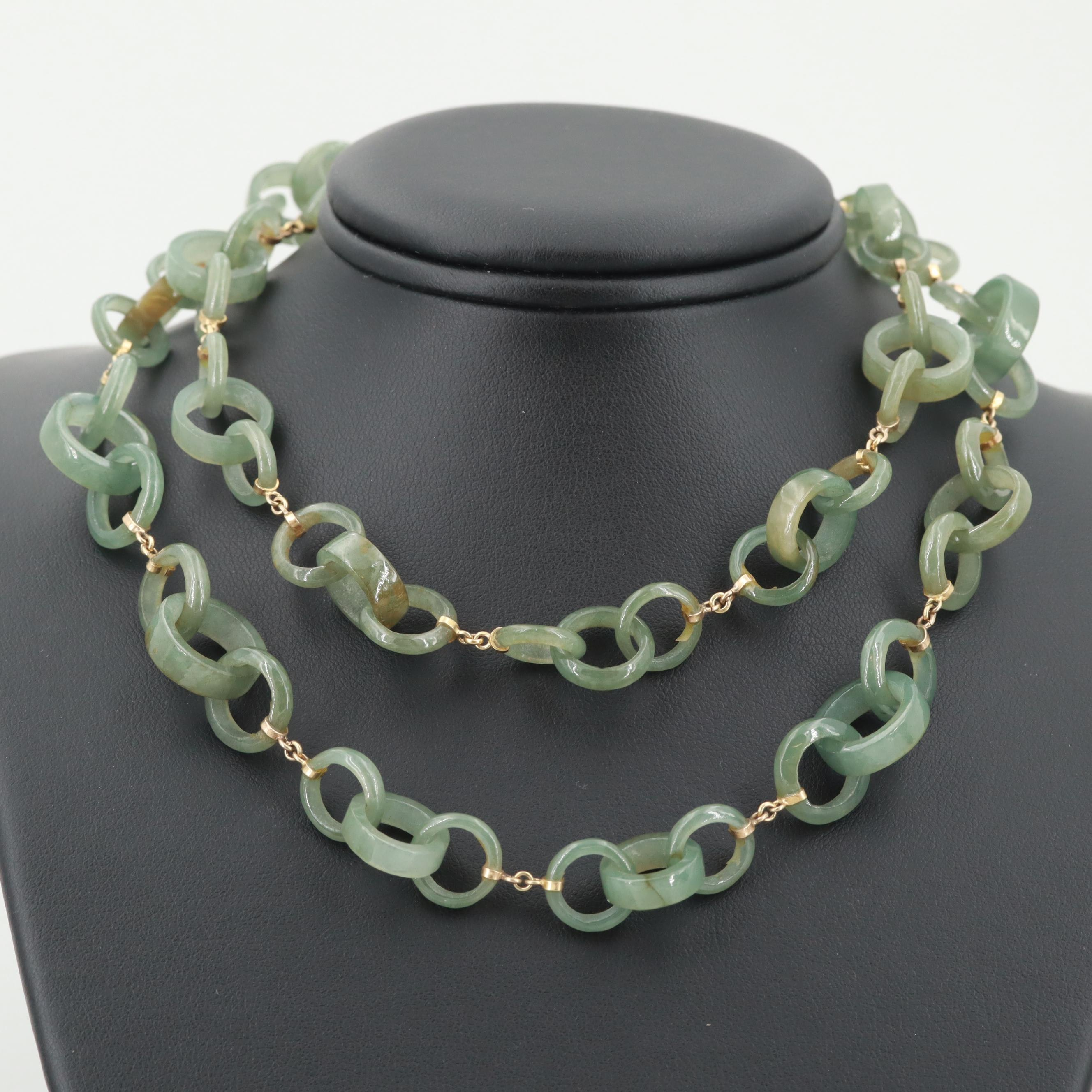 Chinese 14K Yellow Gold Jadeite Link Necklace