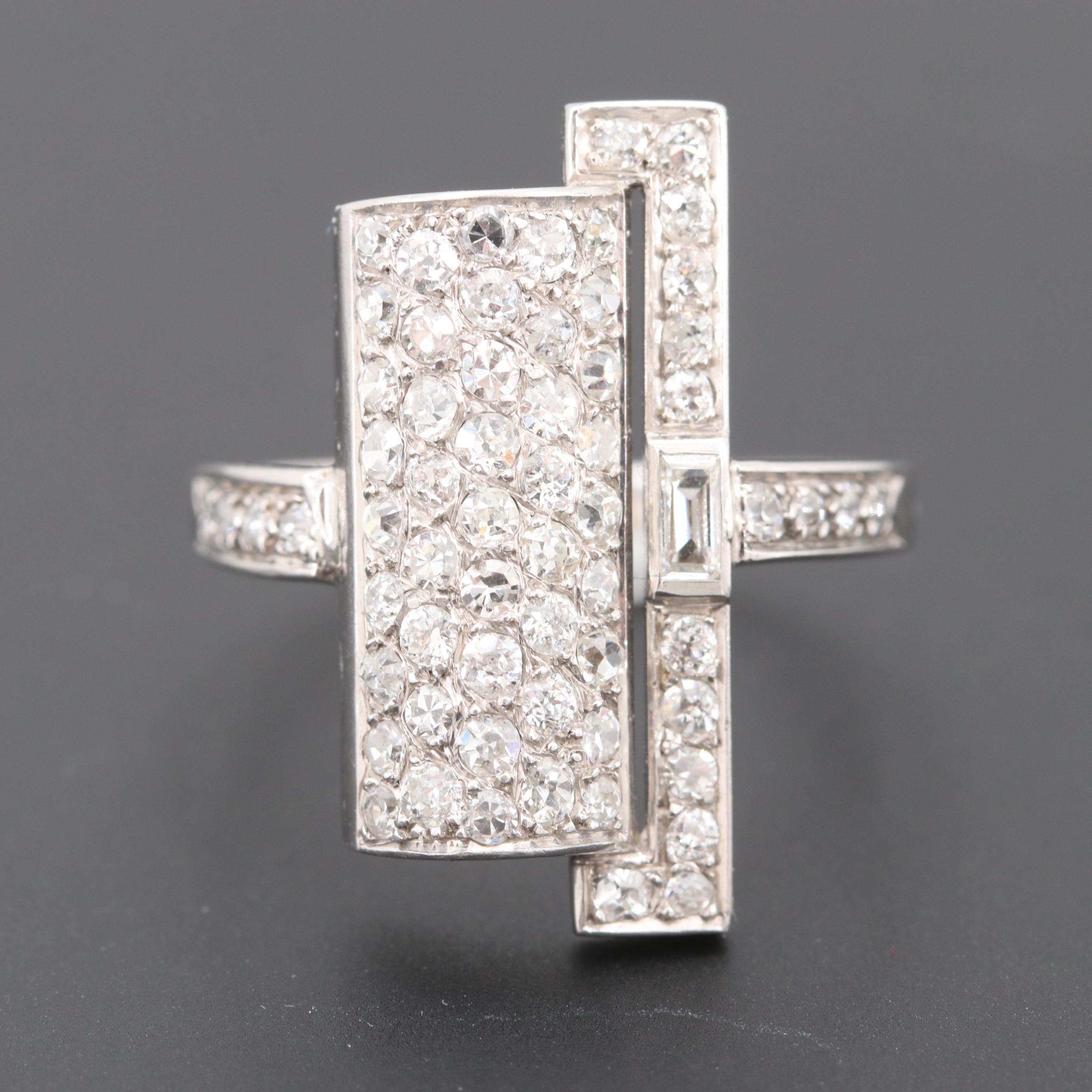 18K White Gold 1.35 CTW French Art Deco Diamond Pavé Ring