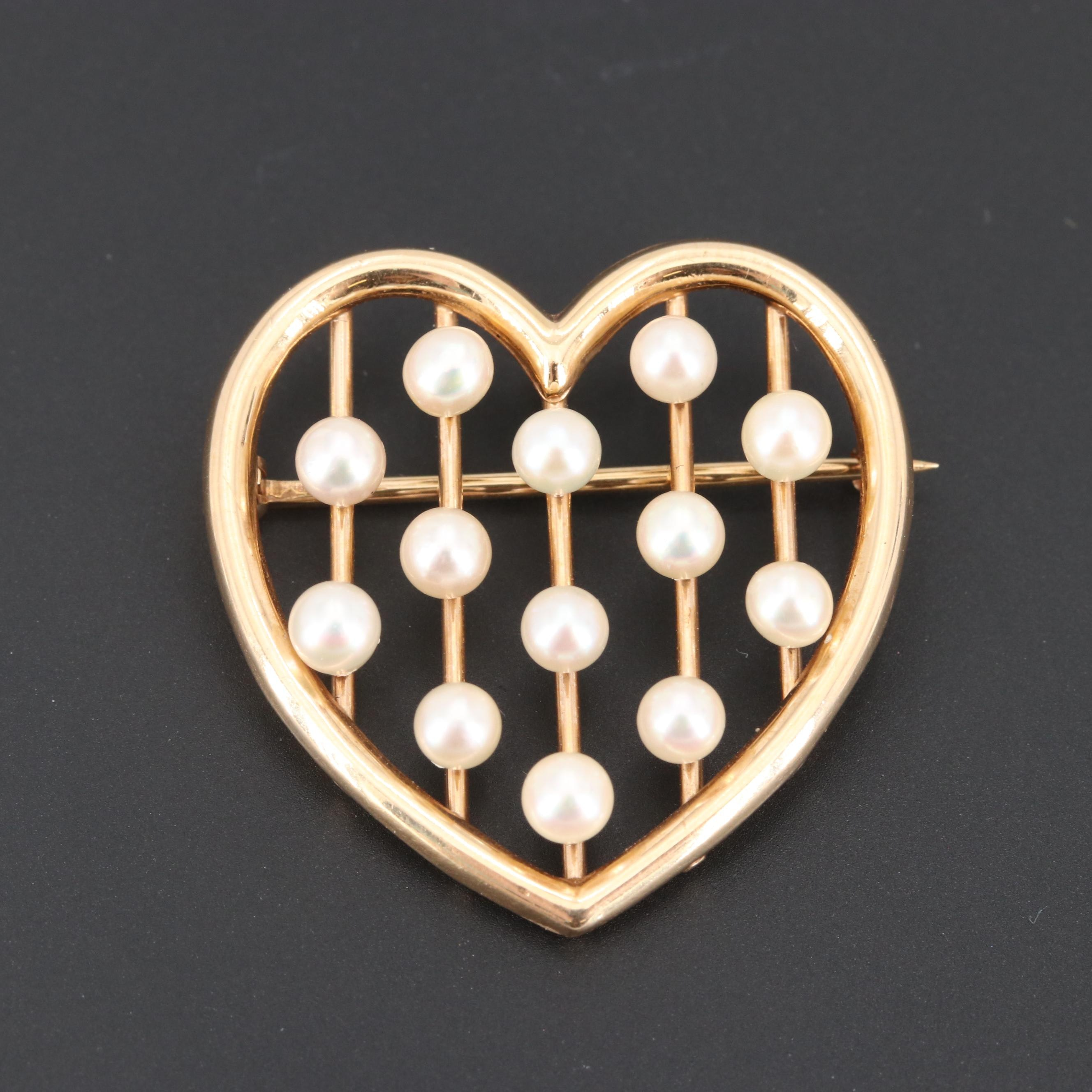 Vintage Krementz 14K Yellow Gold Cultured Pearl Heart Converter Brooch