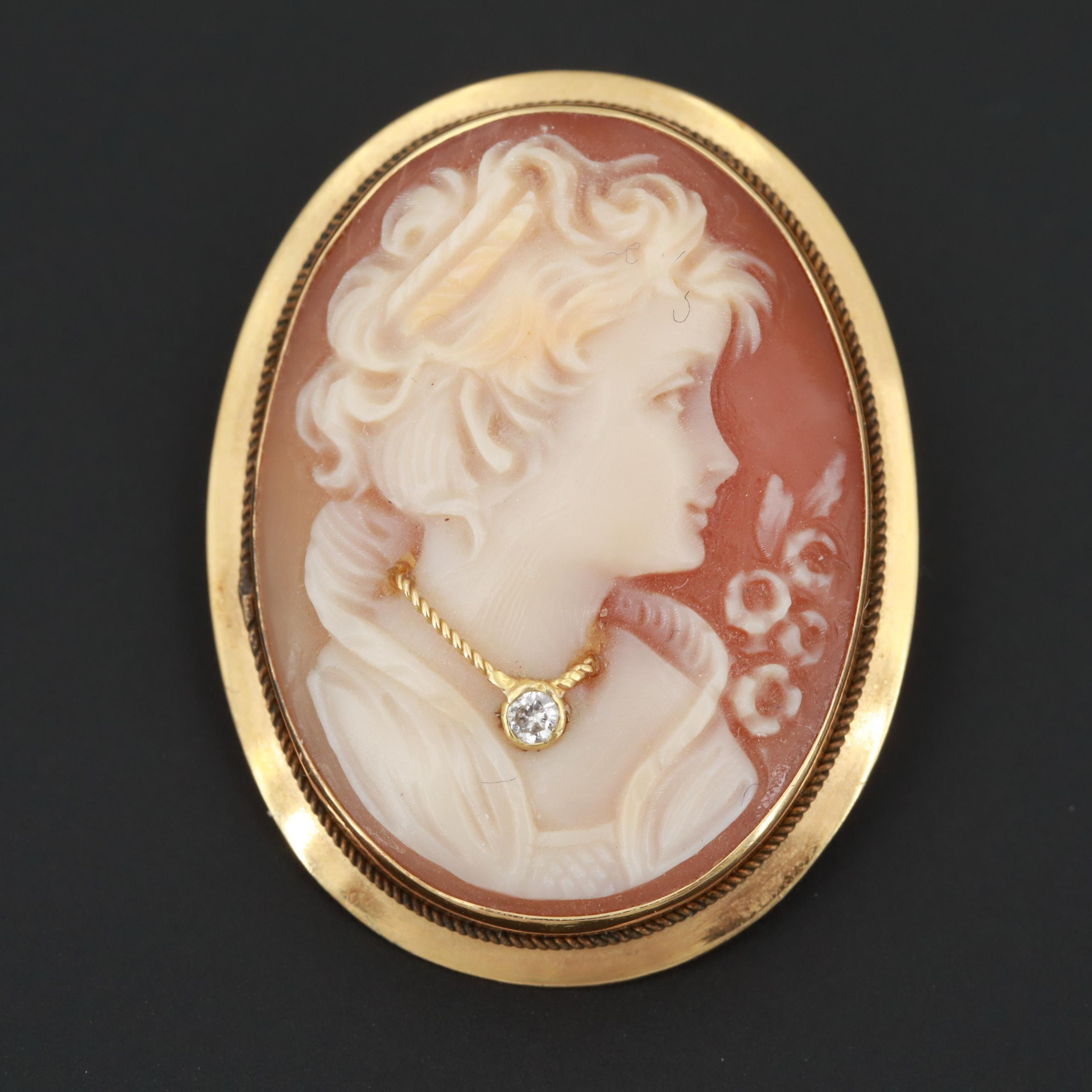 Vintage Italian 18K Yellow Gold Helmet Shell and Diamond Cameo Habillé Brooch