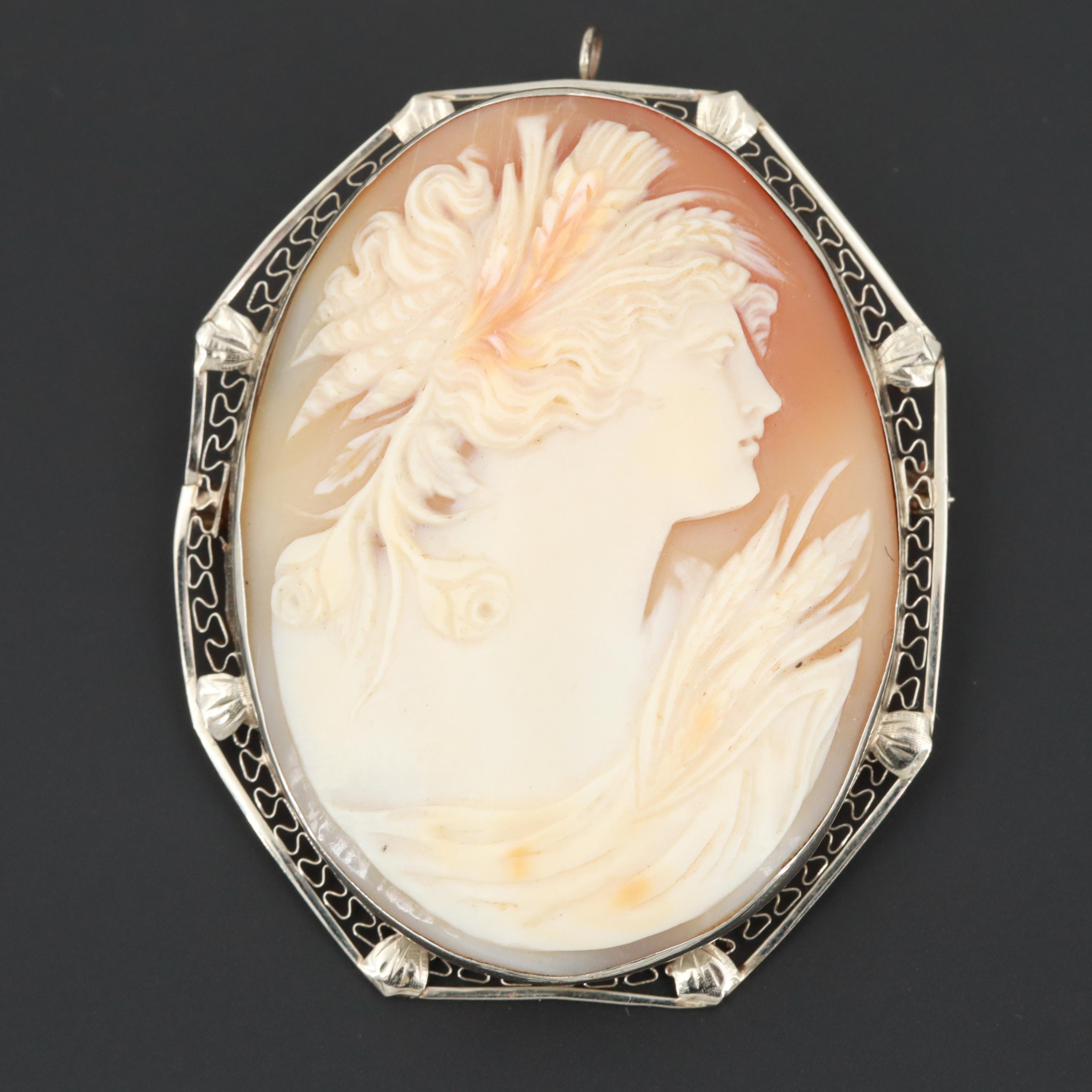 Circa 1930s 14K White Gold Helmet Shell Cameo Converter Brooch