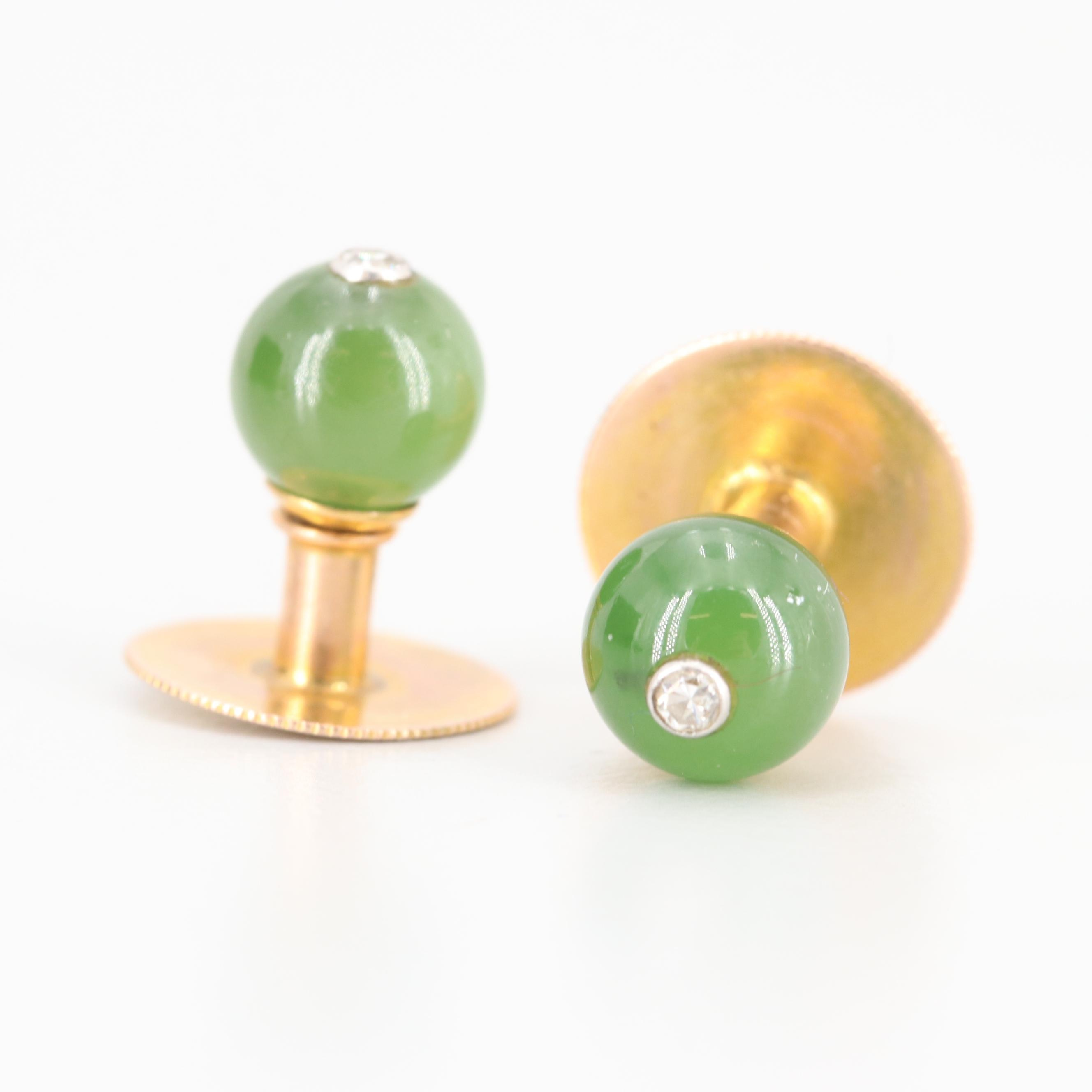 Vintage 10K Yellow Gold Diamond and Nephrite Shirt Studs with Platinum Accents