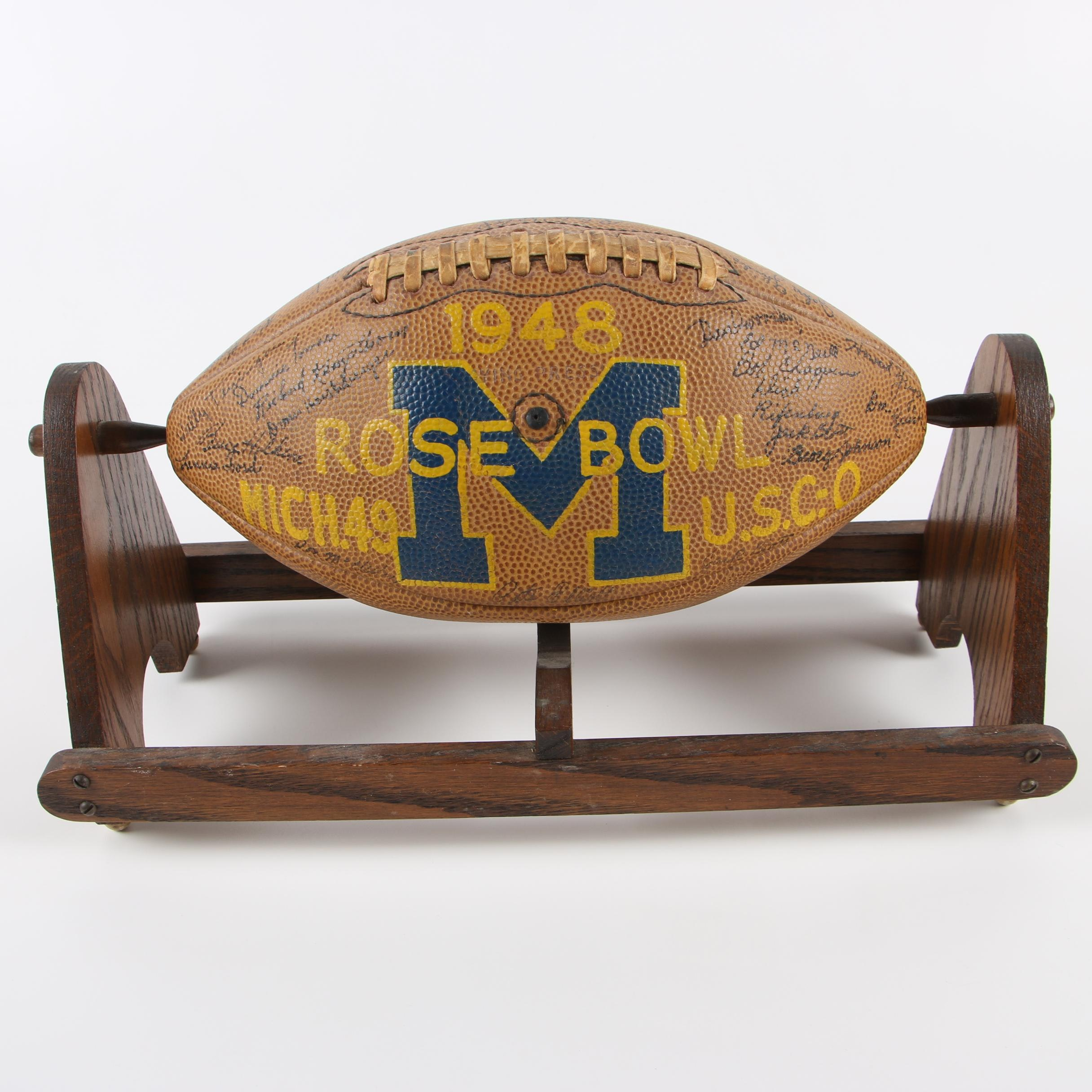 University of Michigan Football Team Signed Football, 1948 Rose Bowl