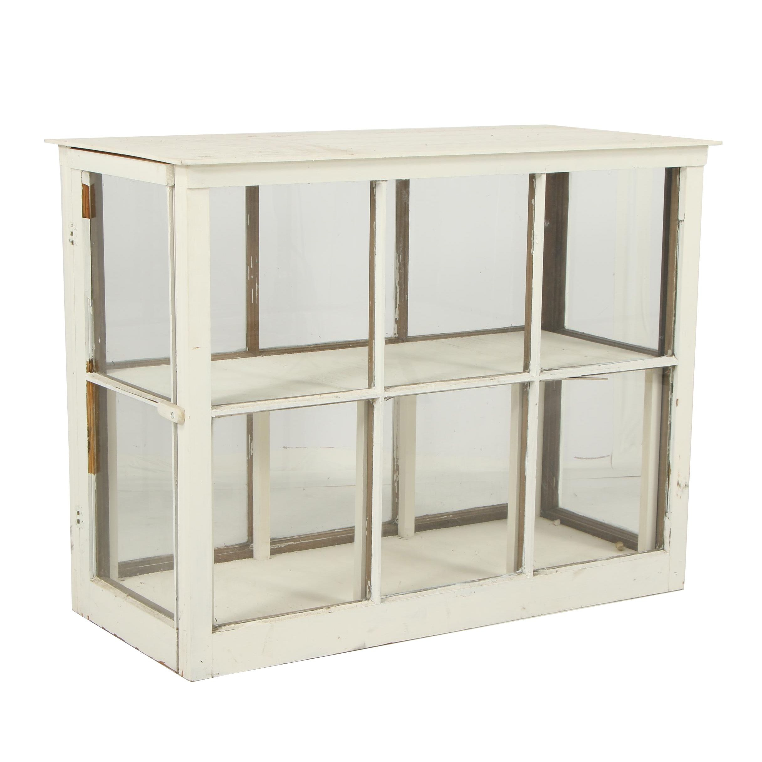 Rustic Style Painted Wood and Glass Display Case, Mid/Late 20th Century