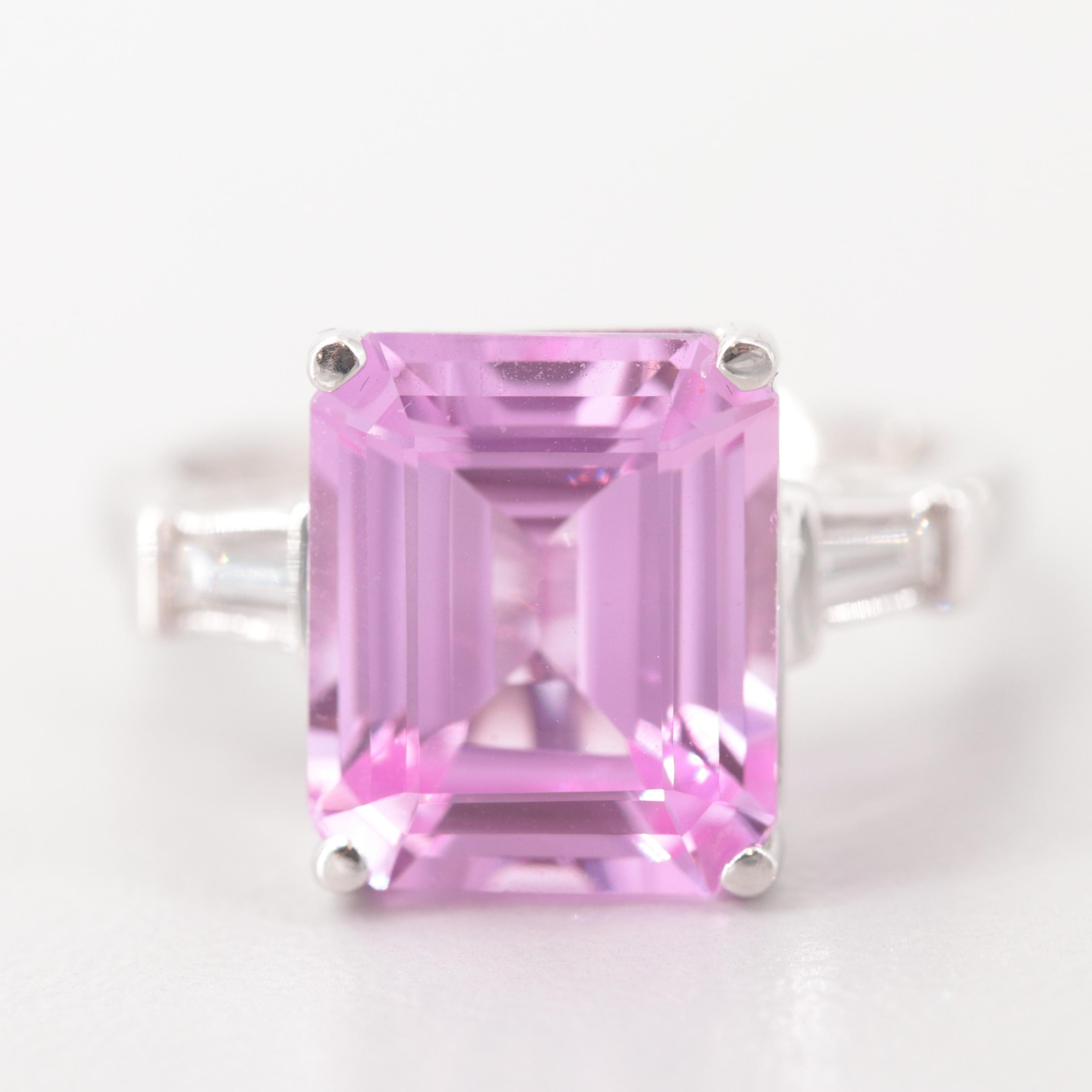 14K White Gold Pink Synthetic Sapphire and Diamond Ring