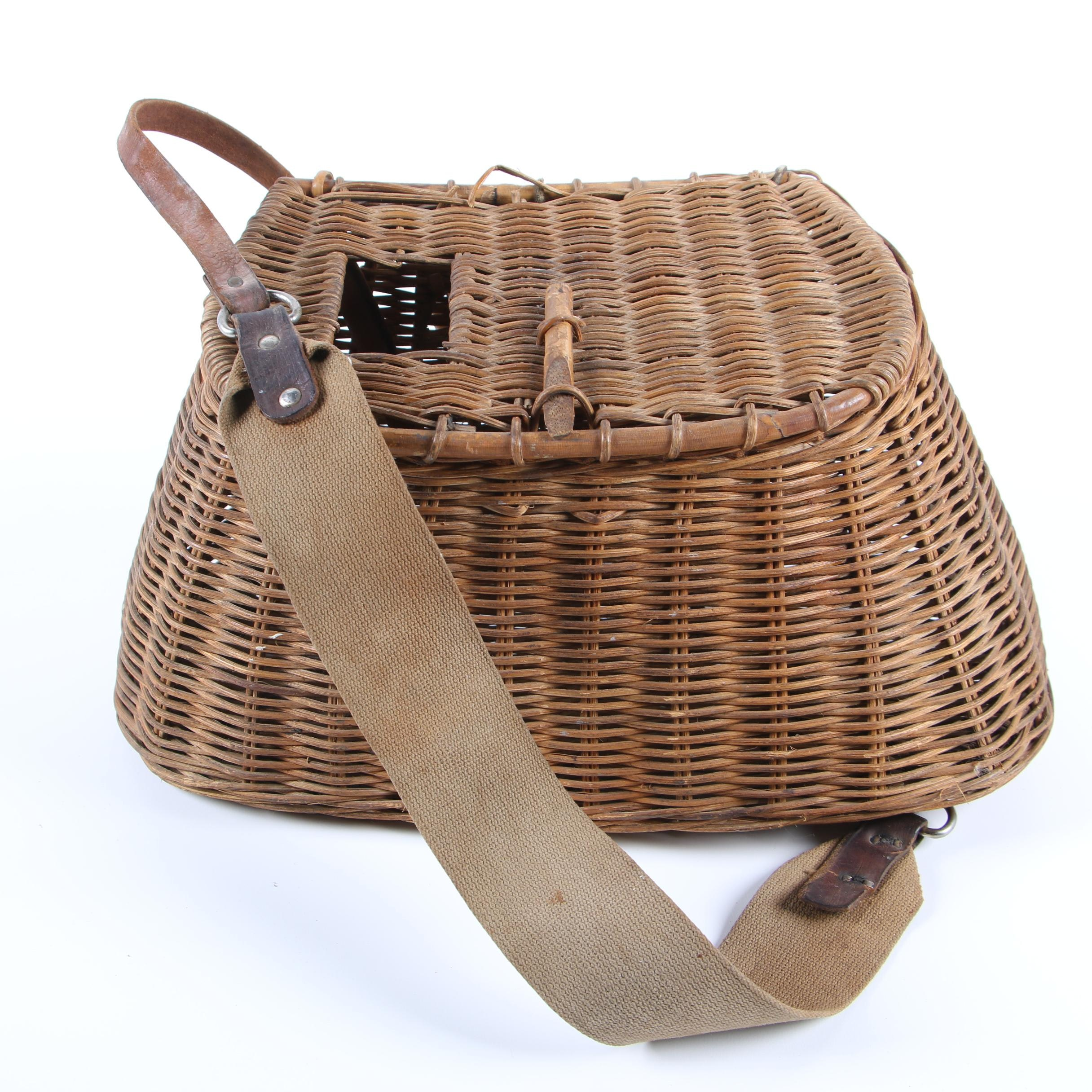 Wicker Creel Basket, 20th Century