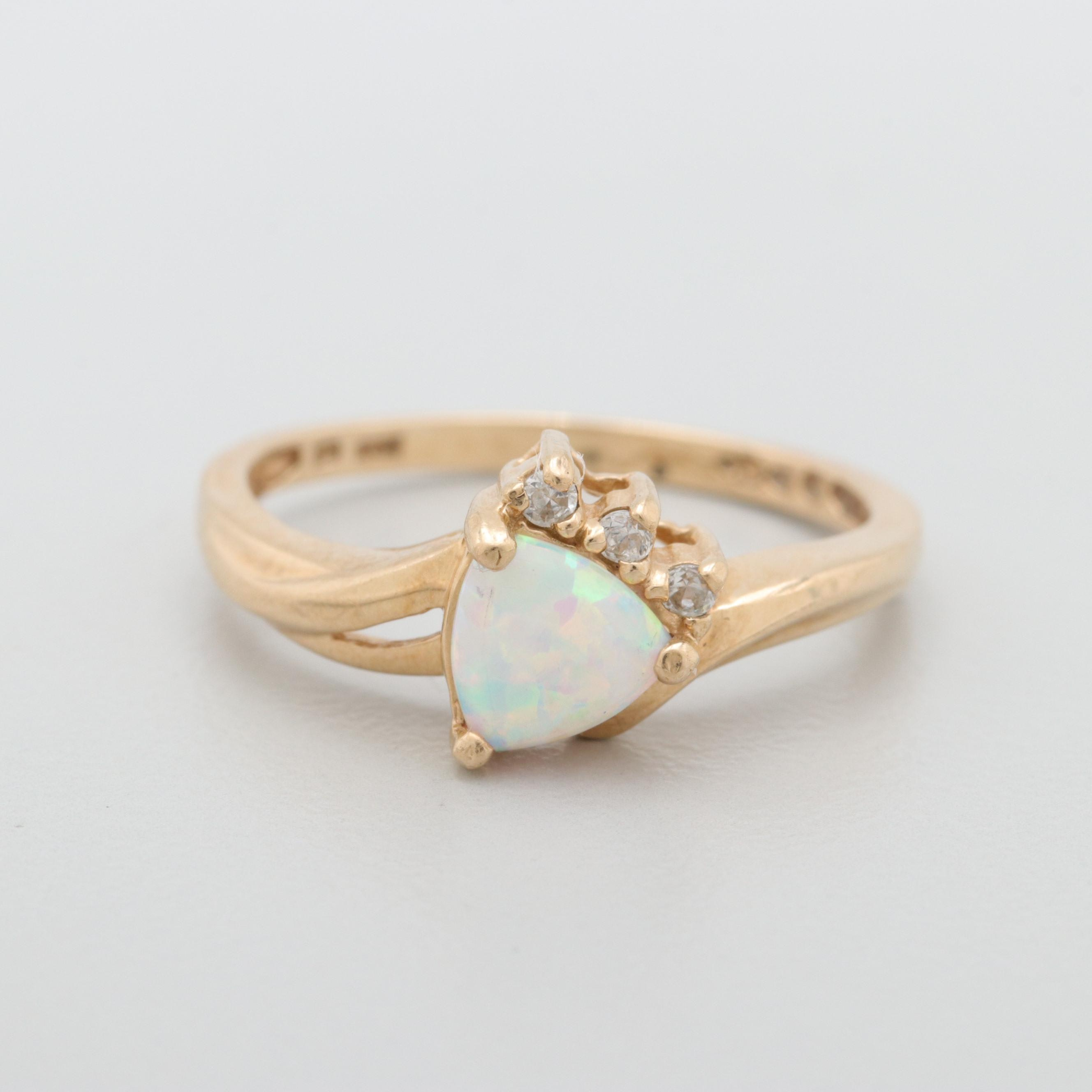 10K Yellow Gold Opal and Cubic Zirconia Ring