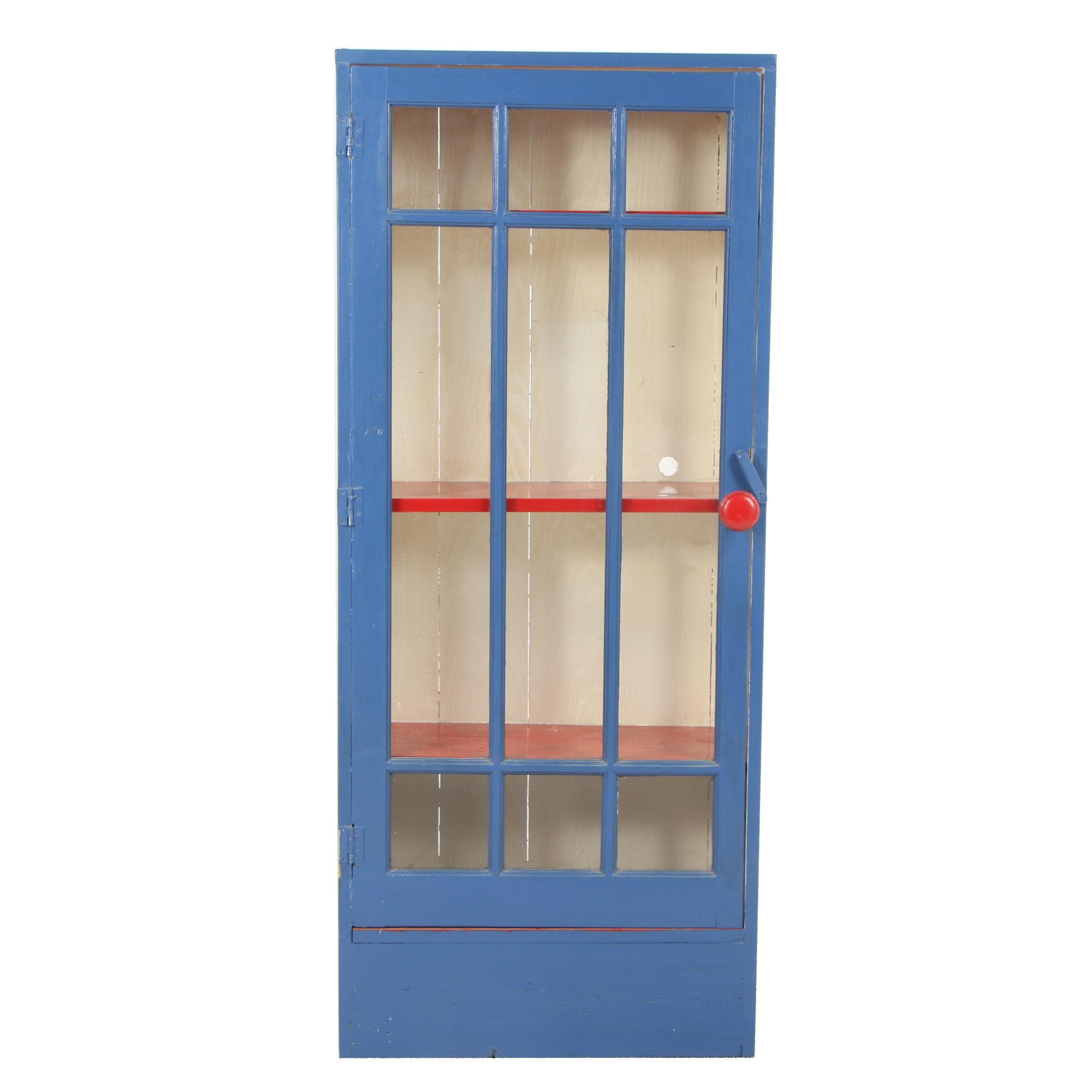 Painted Wood Display Cabinet, Mid-20th Century