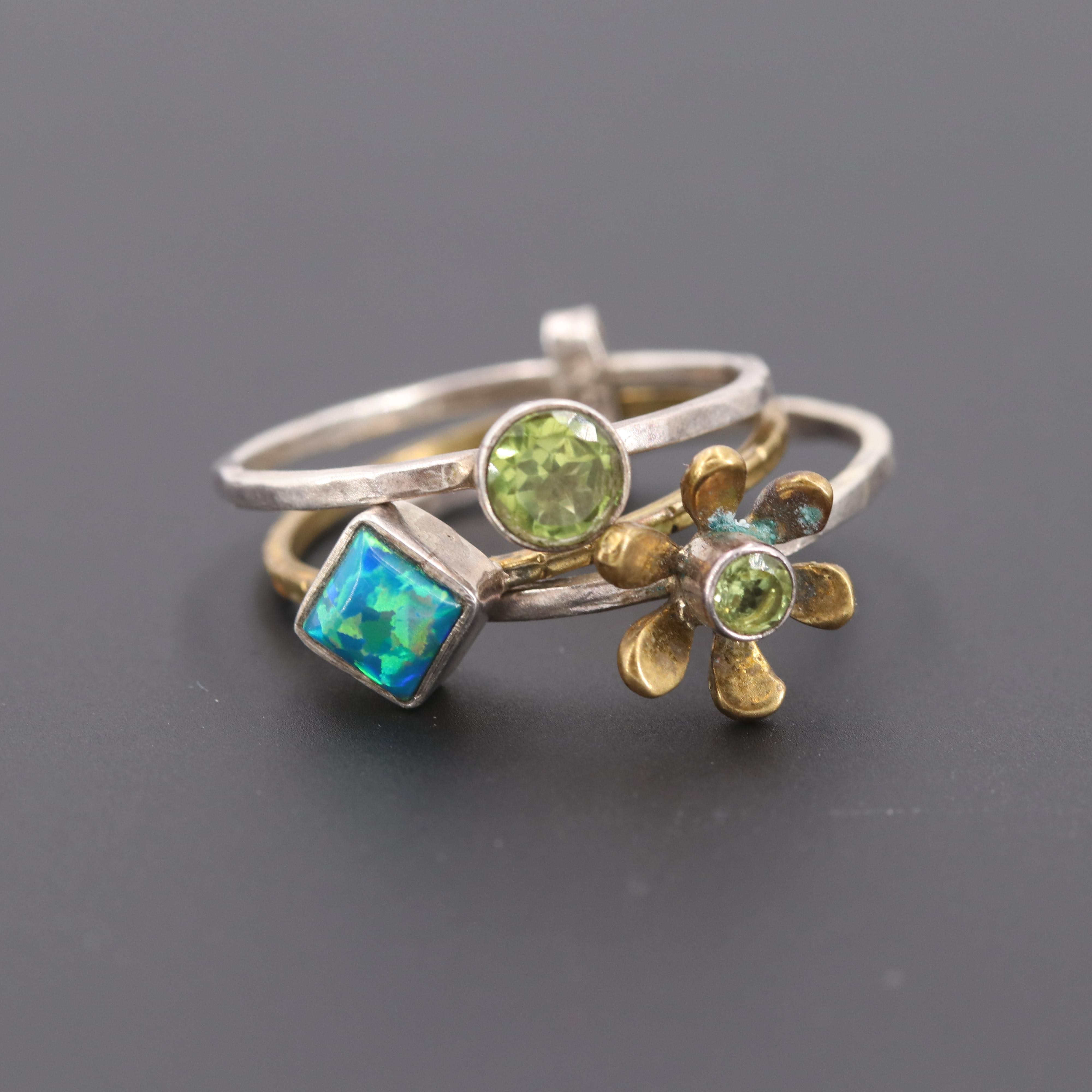 Sterling Silver and Silver Tone Synthetic Opal and Peridot Stacker Rings