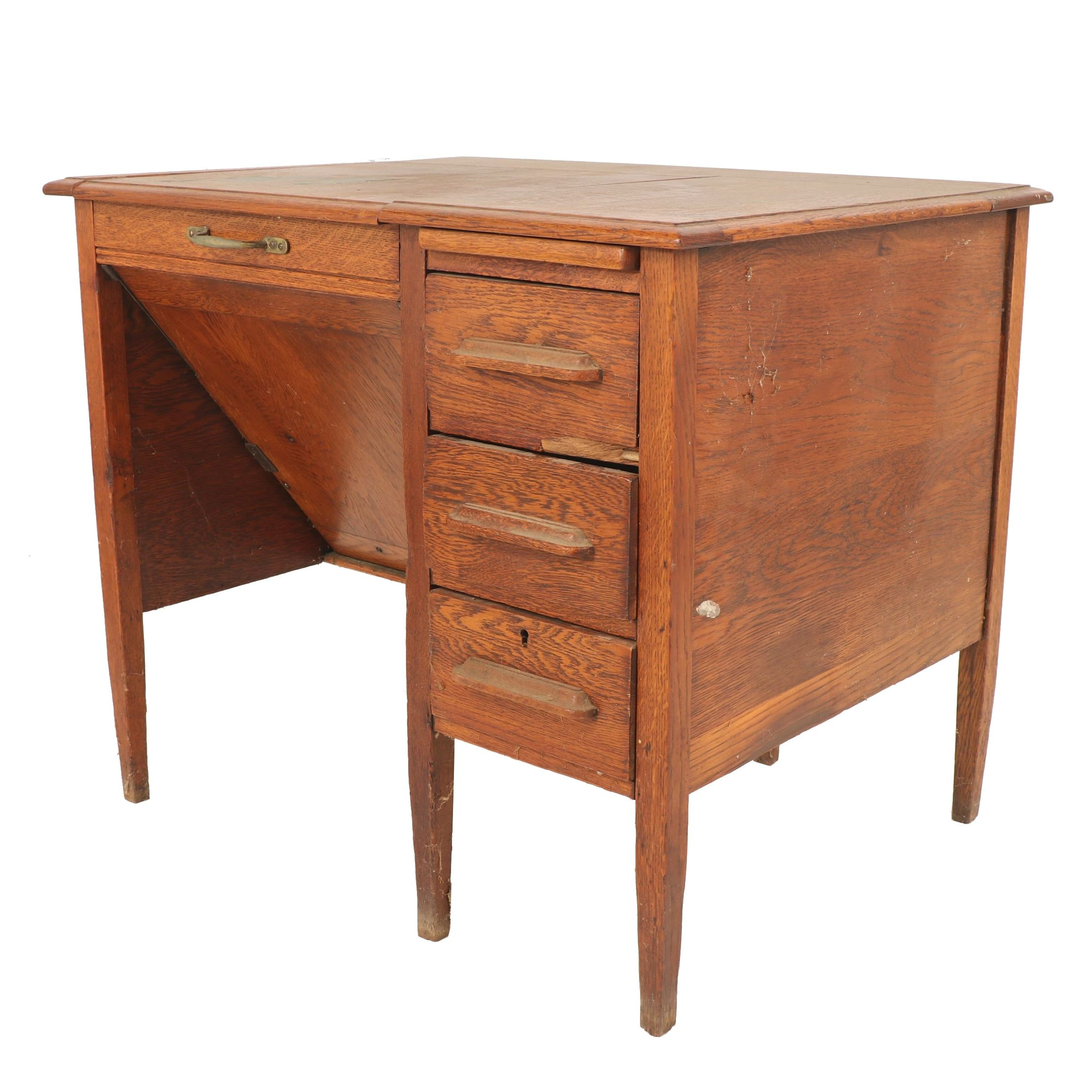 Oak Desk with Folding Compartment, Early 20th Century