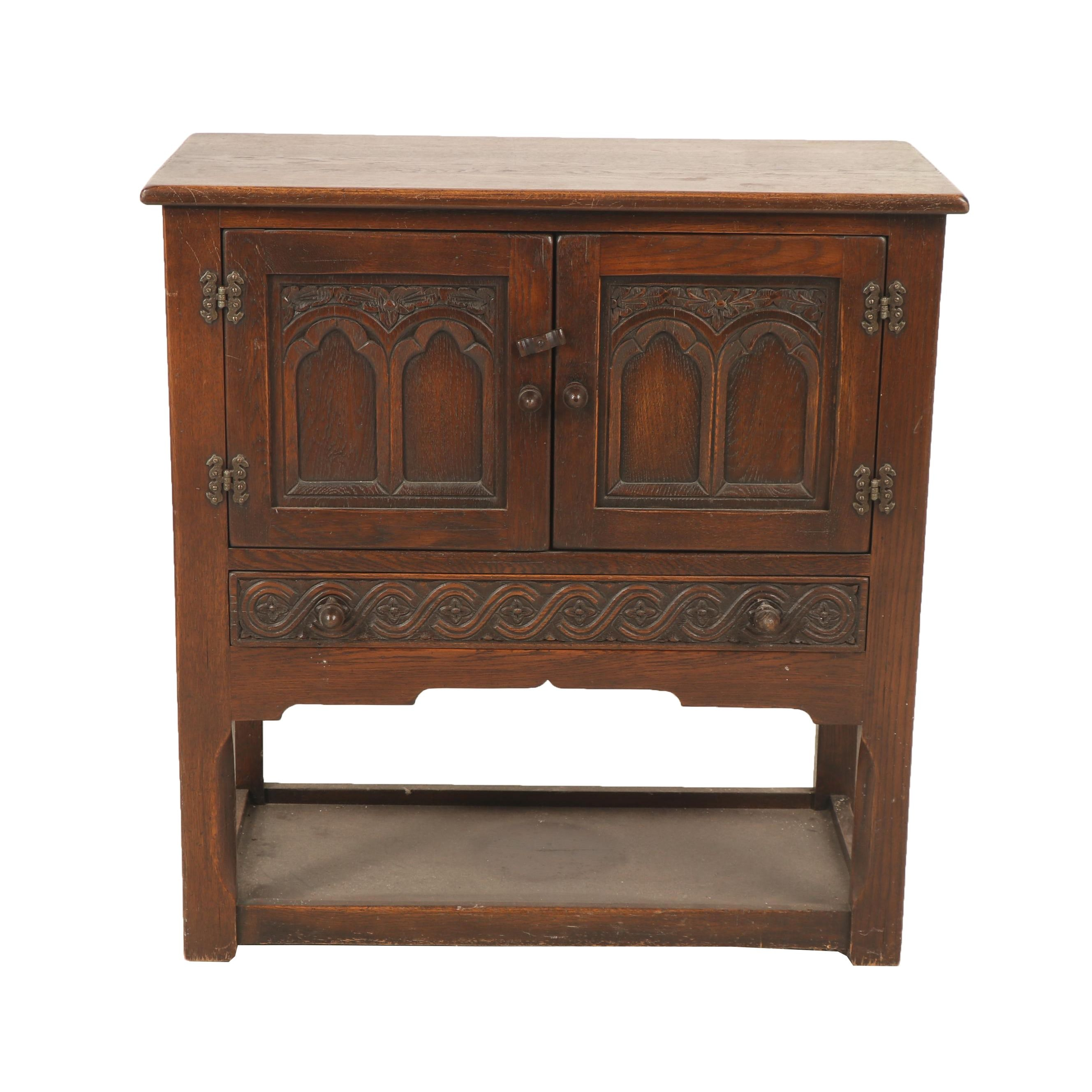 Jacobean Revival Style Carved Oak Cabinet with Drawer, Early 20th Century